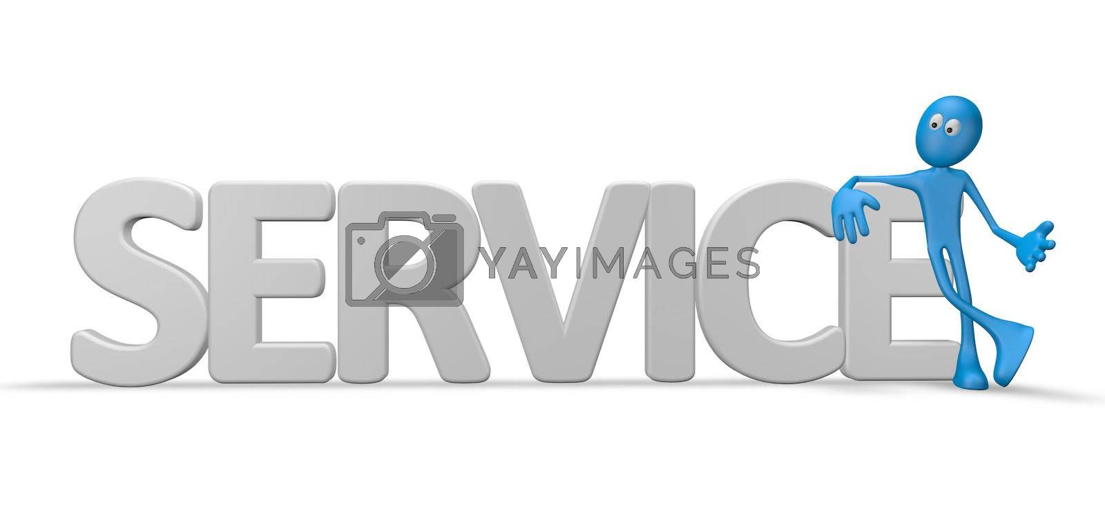 cartoon  guy and the word service - 3d illustration