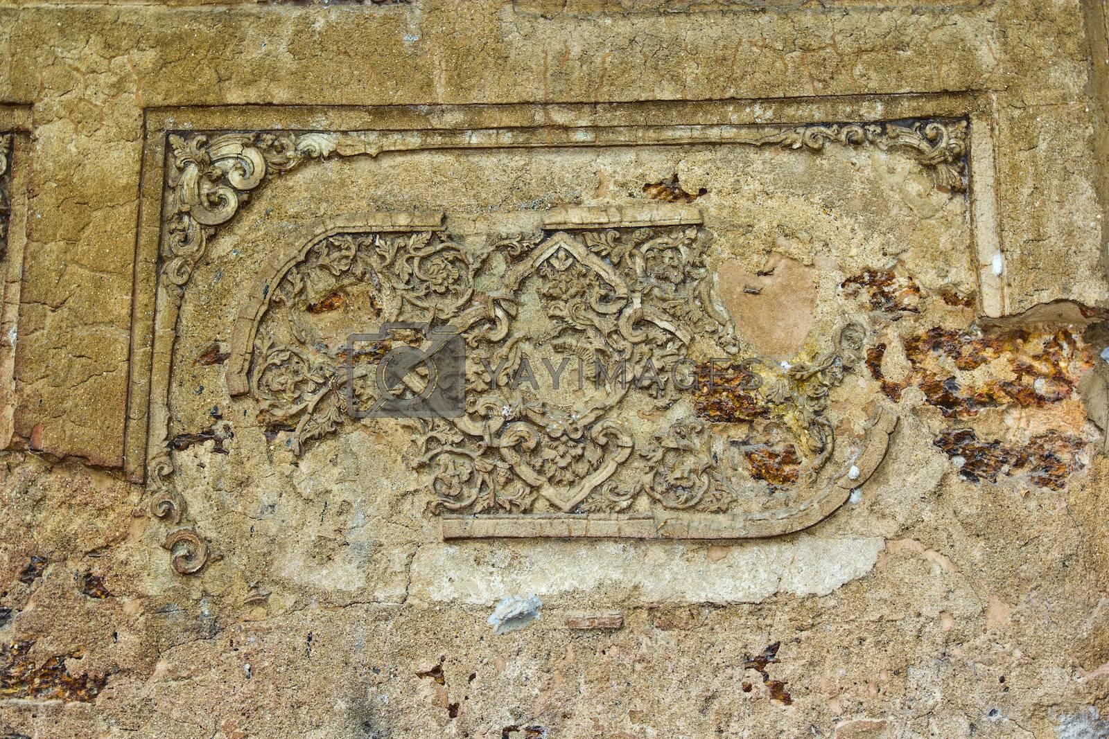 Thai traditional design on the vihara exterior
