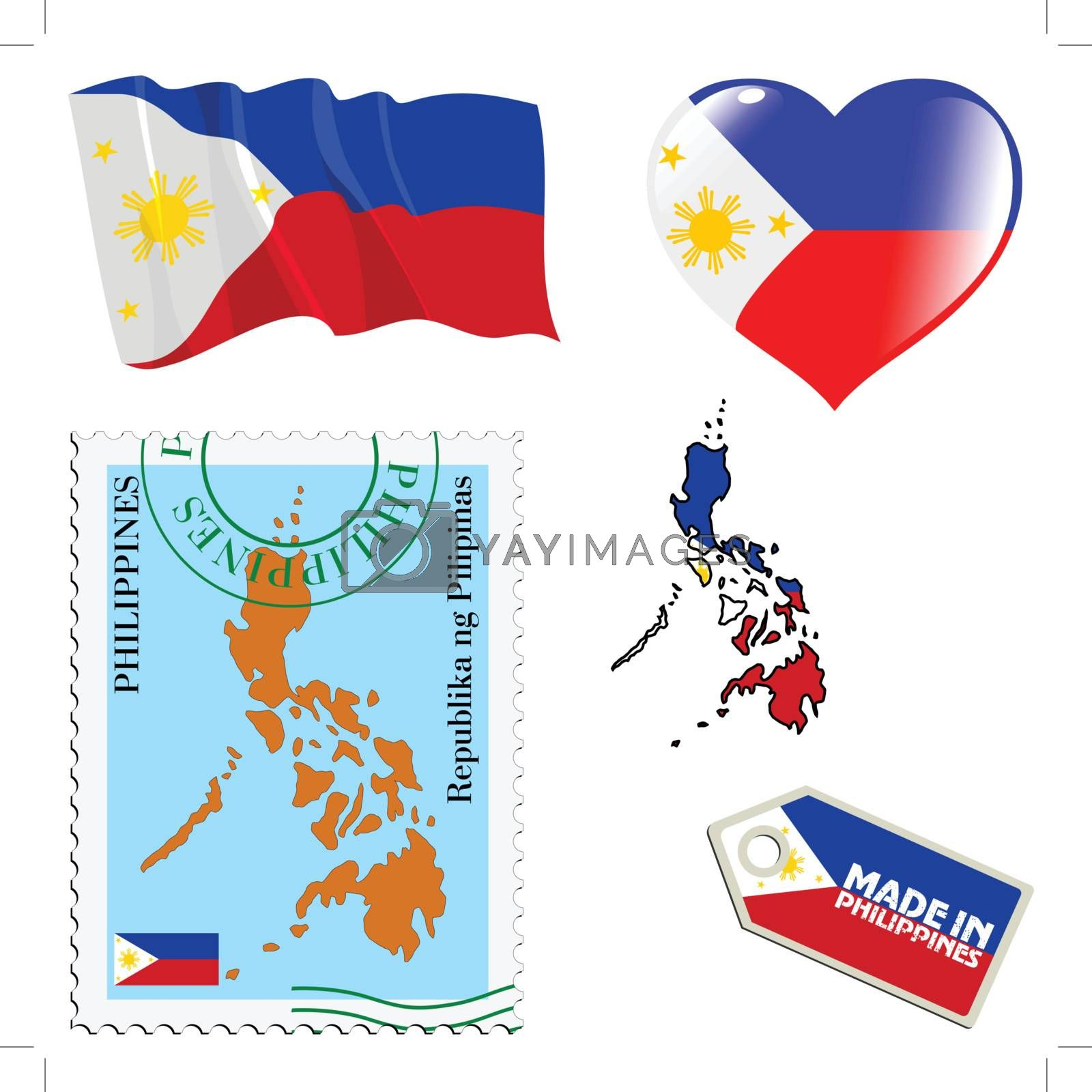 set of different symbols in national colours of Philippines
