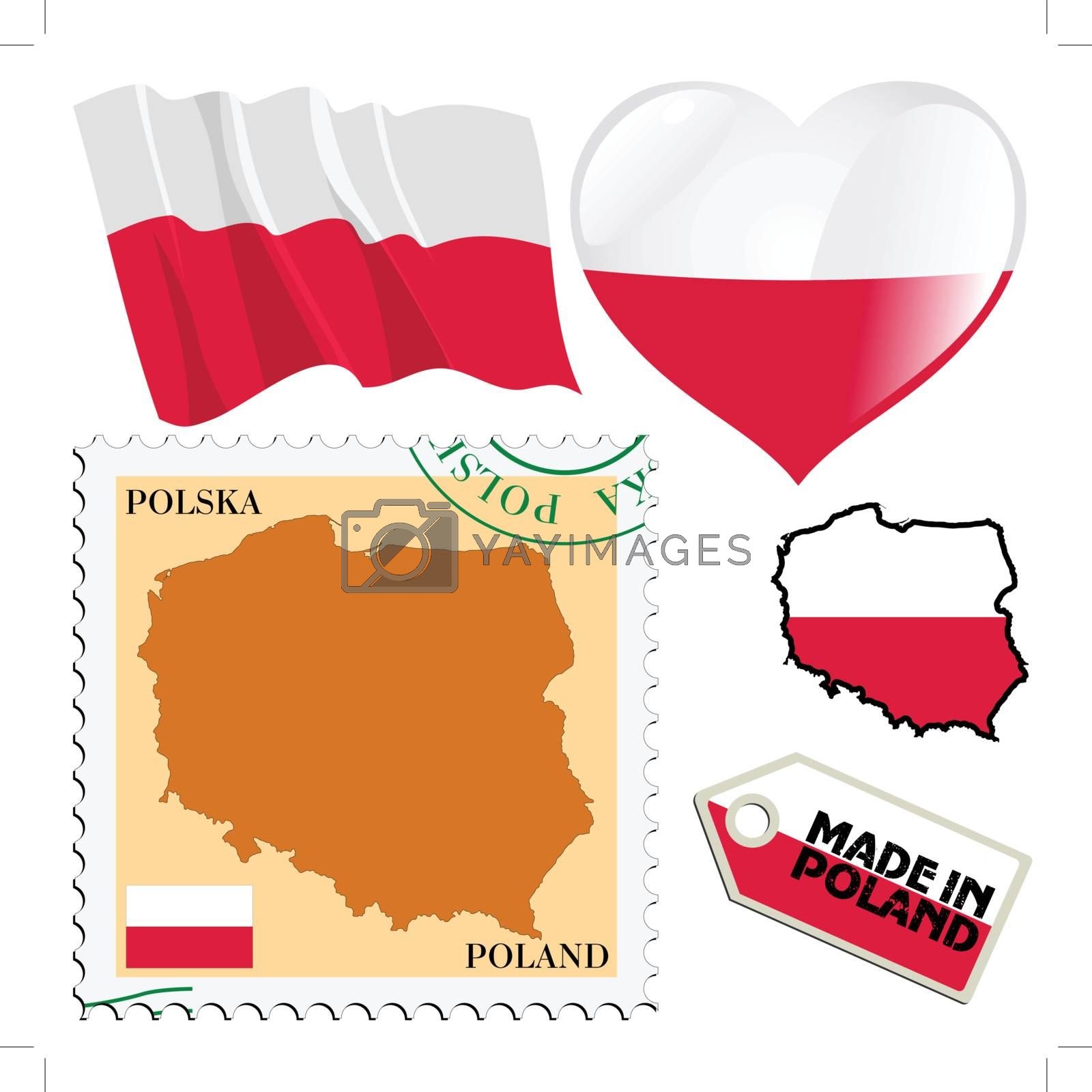 set of different symbols in national colours of Poland