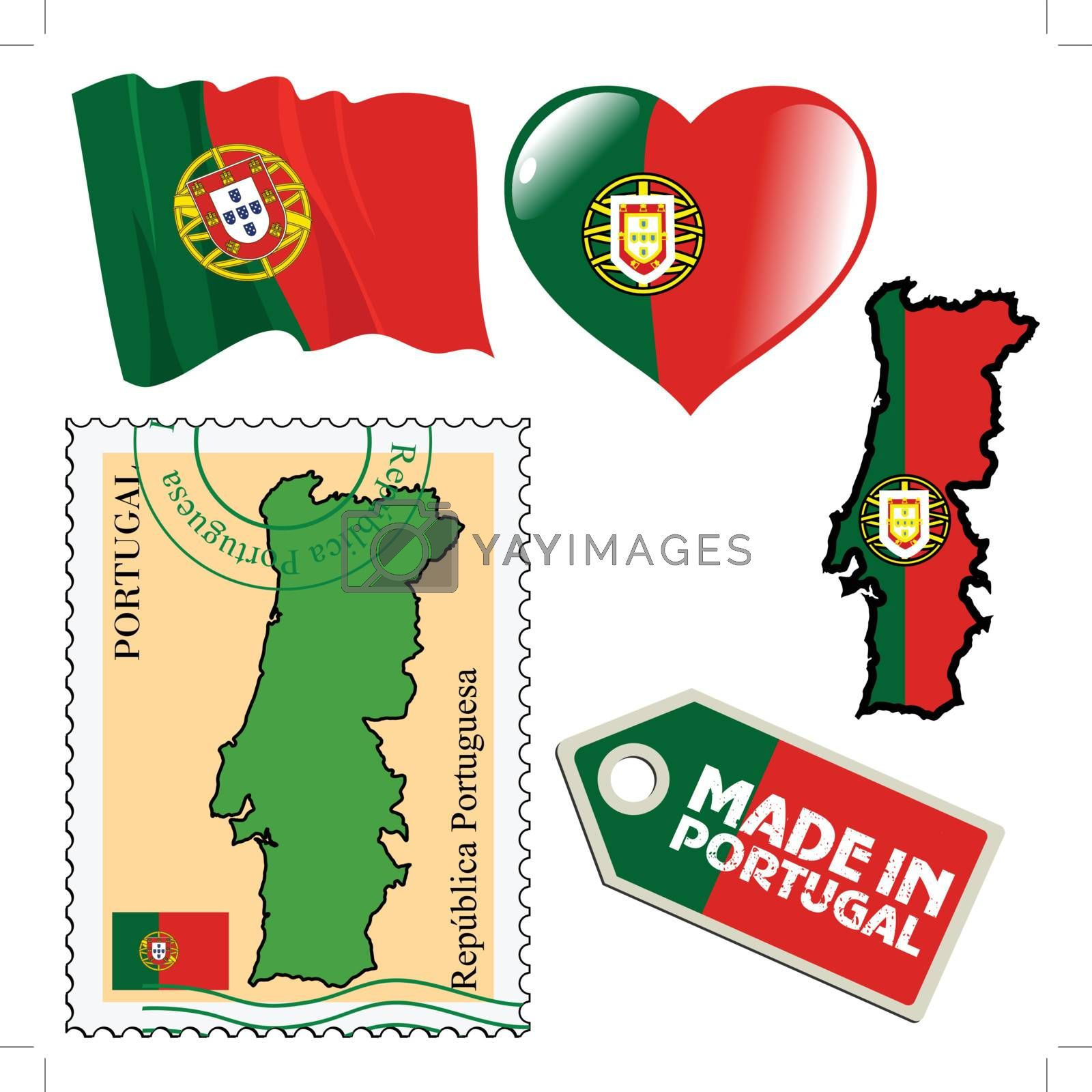 set of different symbols in national colours of Portugal