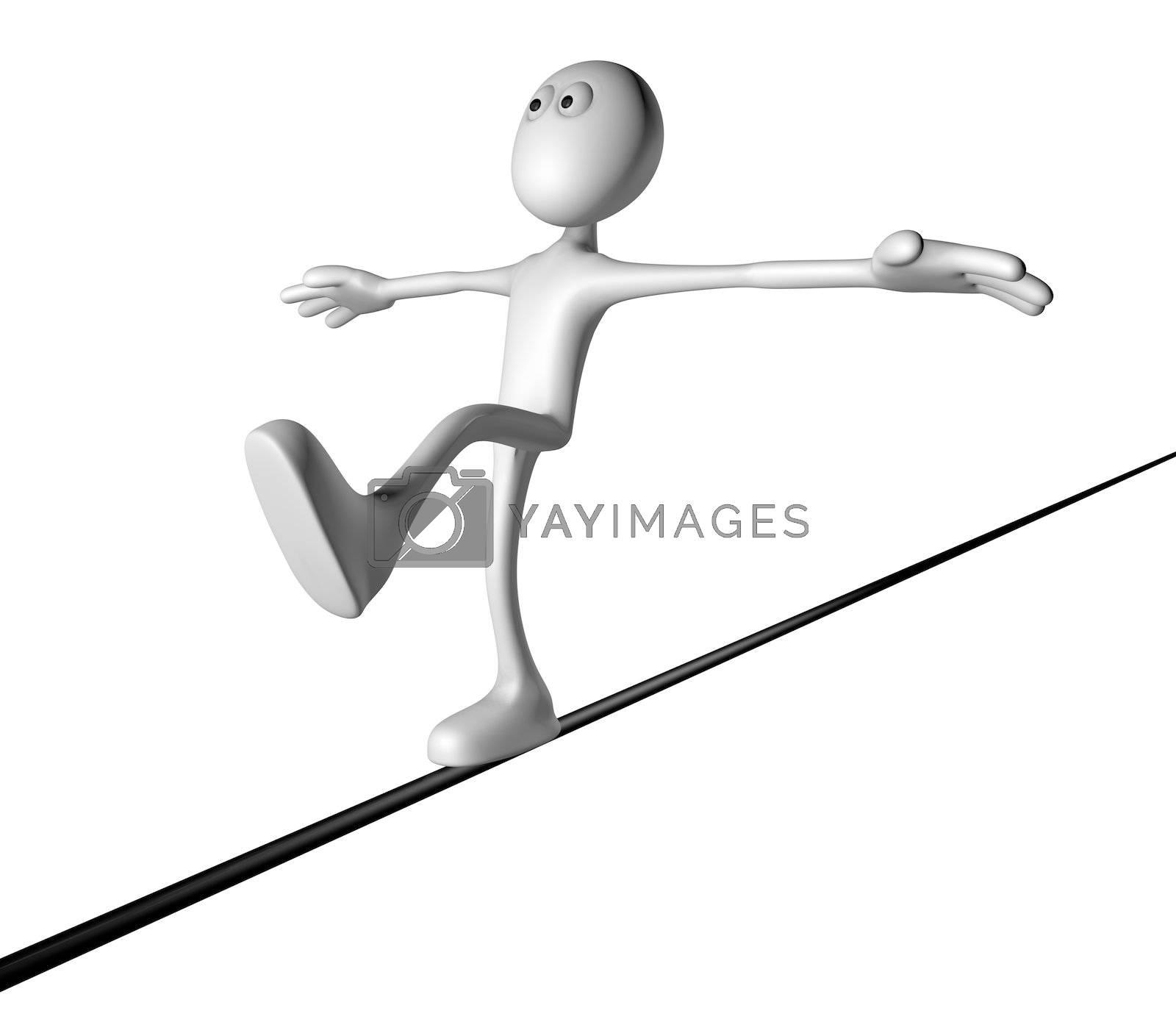 cartoon guy balances - 3d illustration