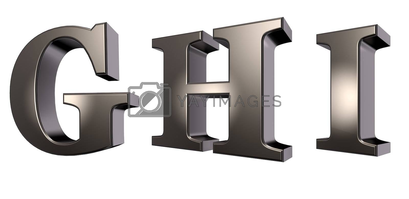 metal  letters g, h and i on white background - 3d illustration