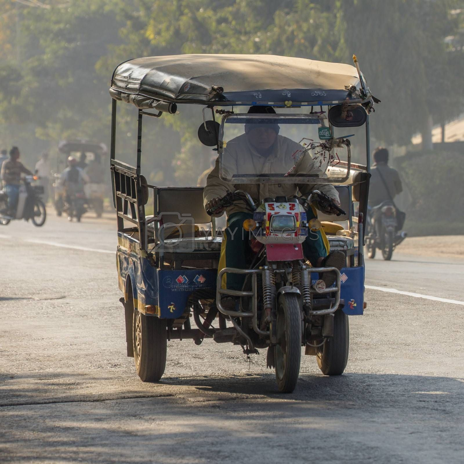 Local transport in the town of Monywa in Sagaing Division of Myanmar (Burma).