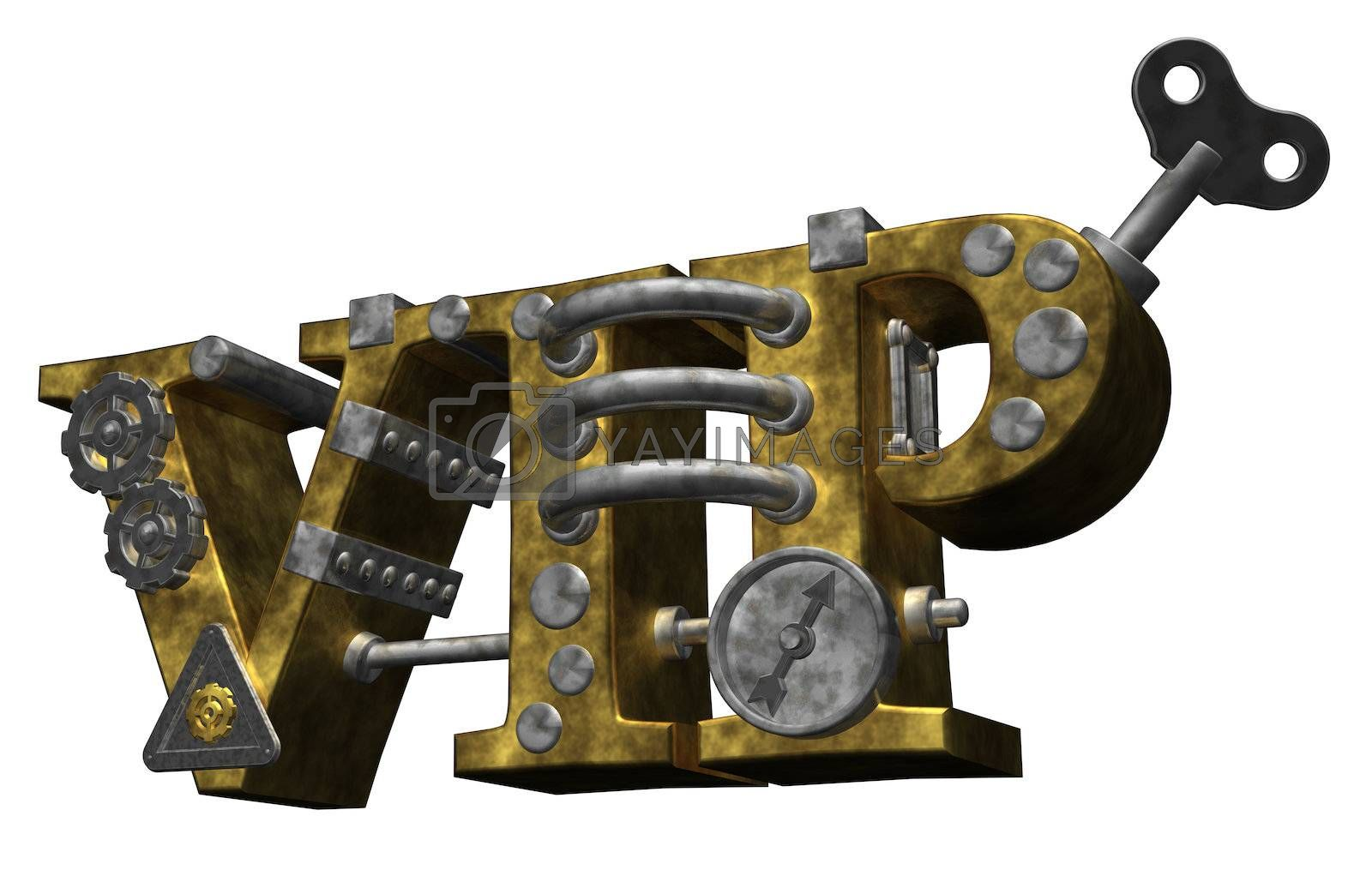 the letters vip in steampunk style - 3d illustration