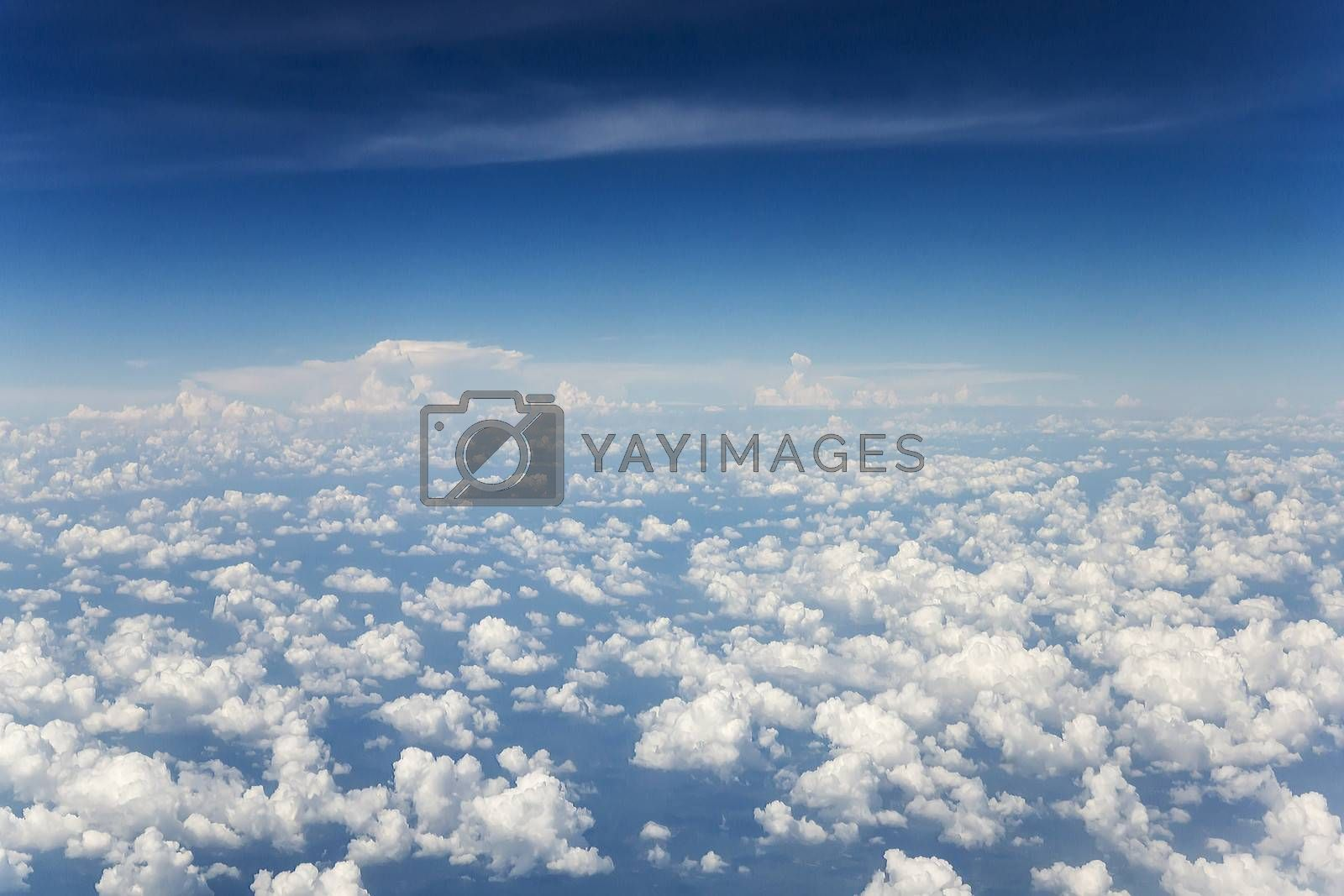 The beautiful white clouds and blue sky