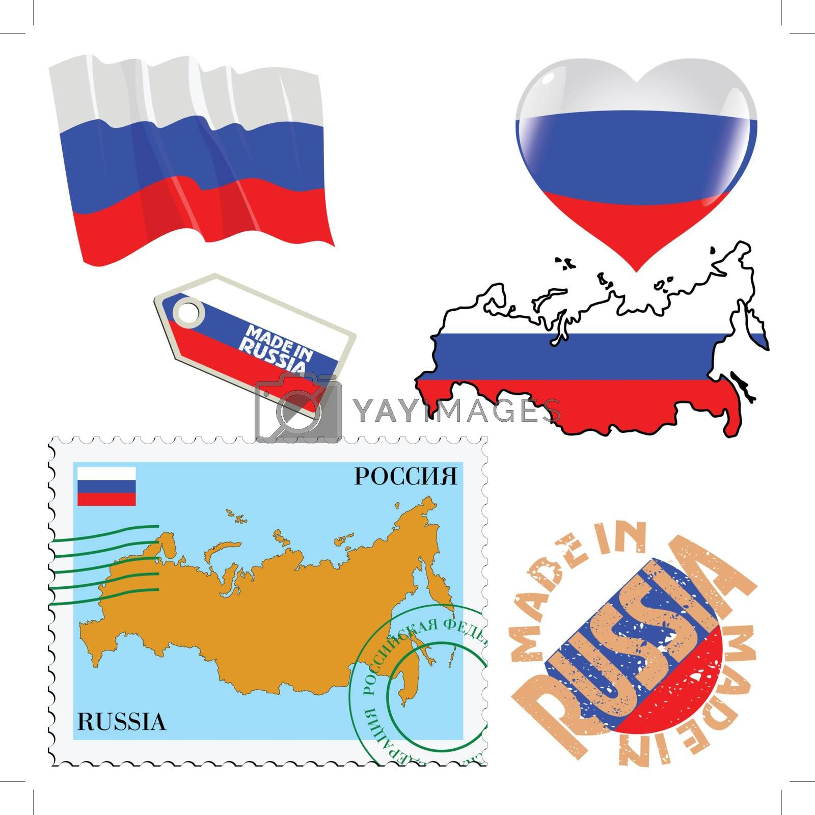 set of different symbols in national colours of Russia