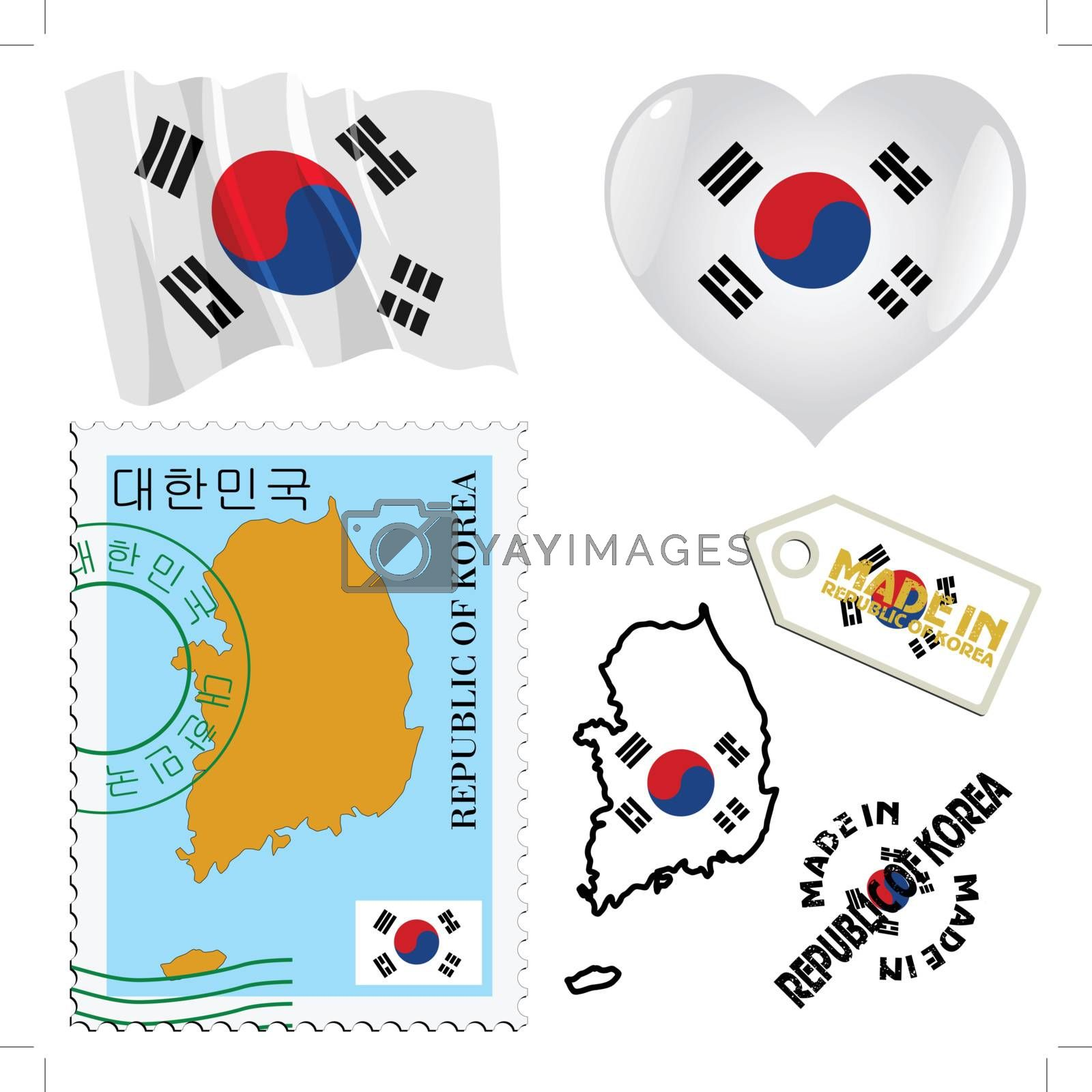 set of different symbols in national colours of South Korea