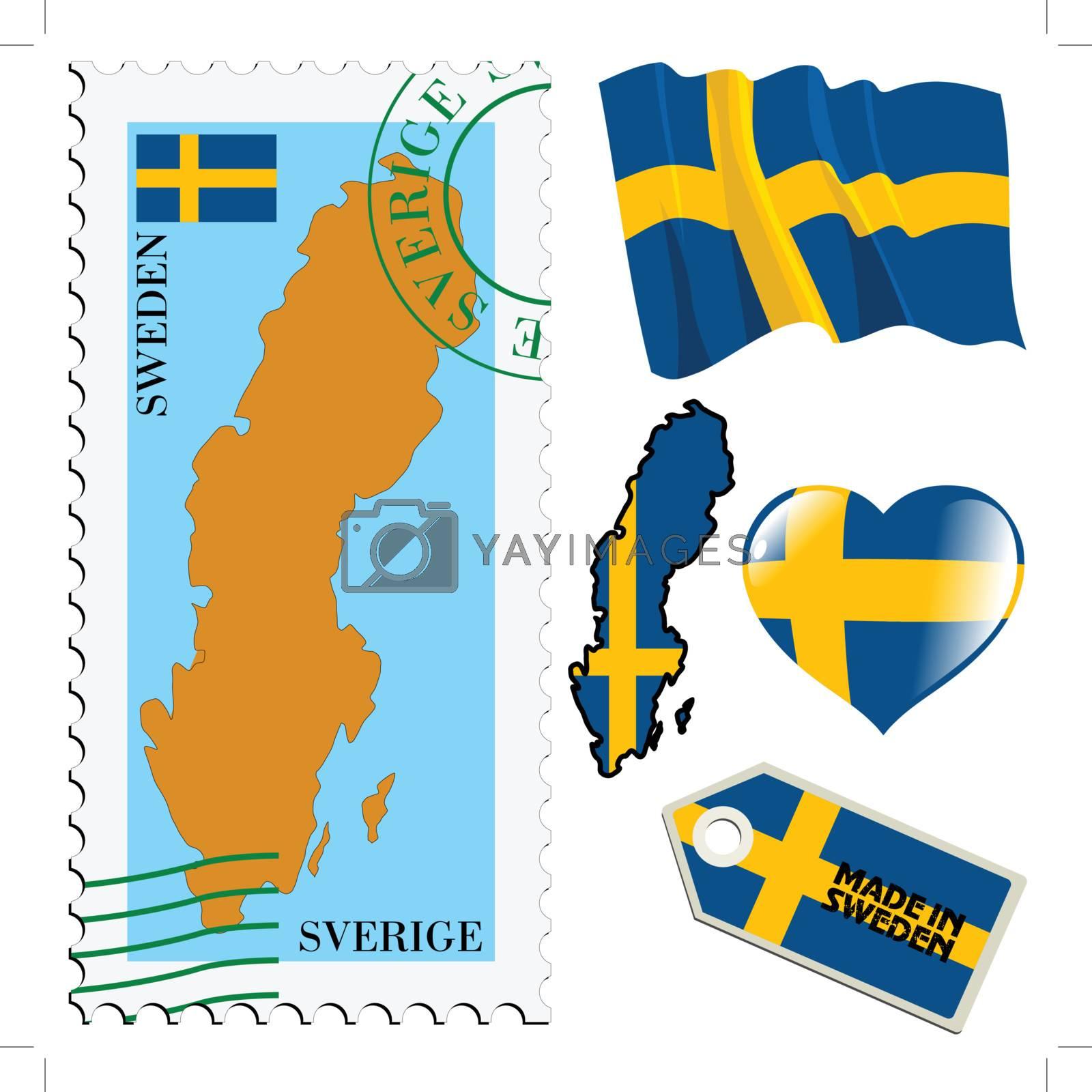set of different symbols in national colours of Sweden