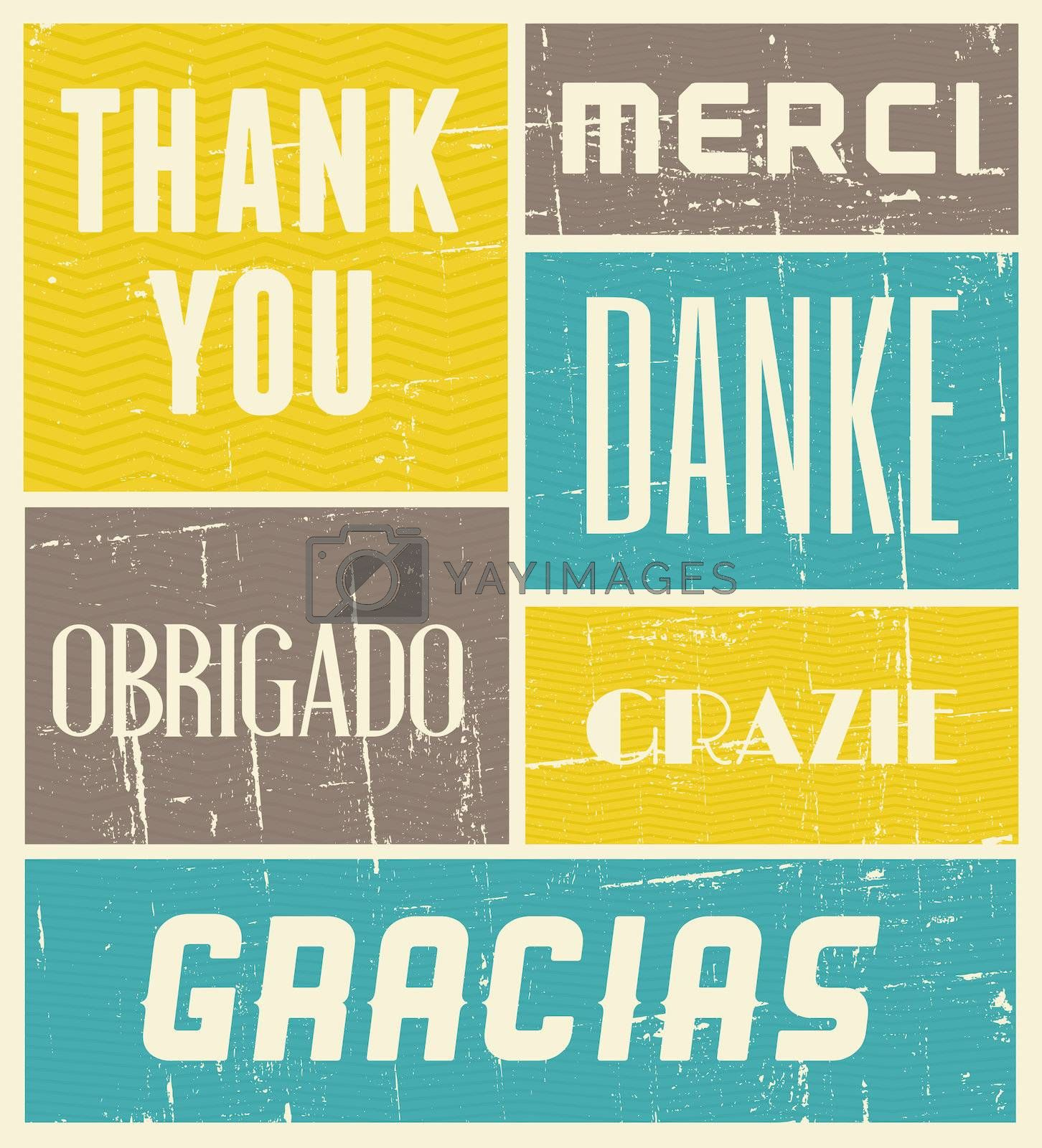 Vintage style poster with the words 'Thank You' in different languages.