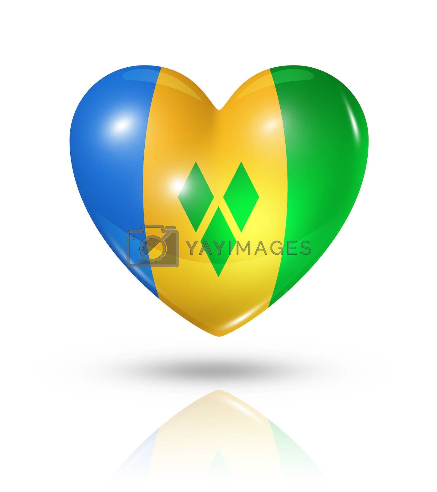 Love Saint Vincent and the Grenadines symbol. 3D heart flag icon isolated on white with clipping path