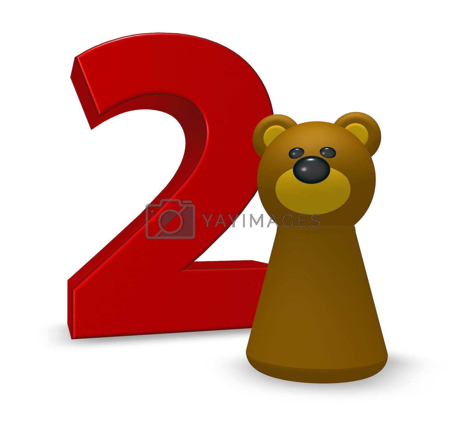 number two and brown bear - 3d illustration