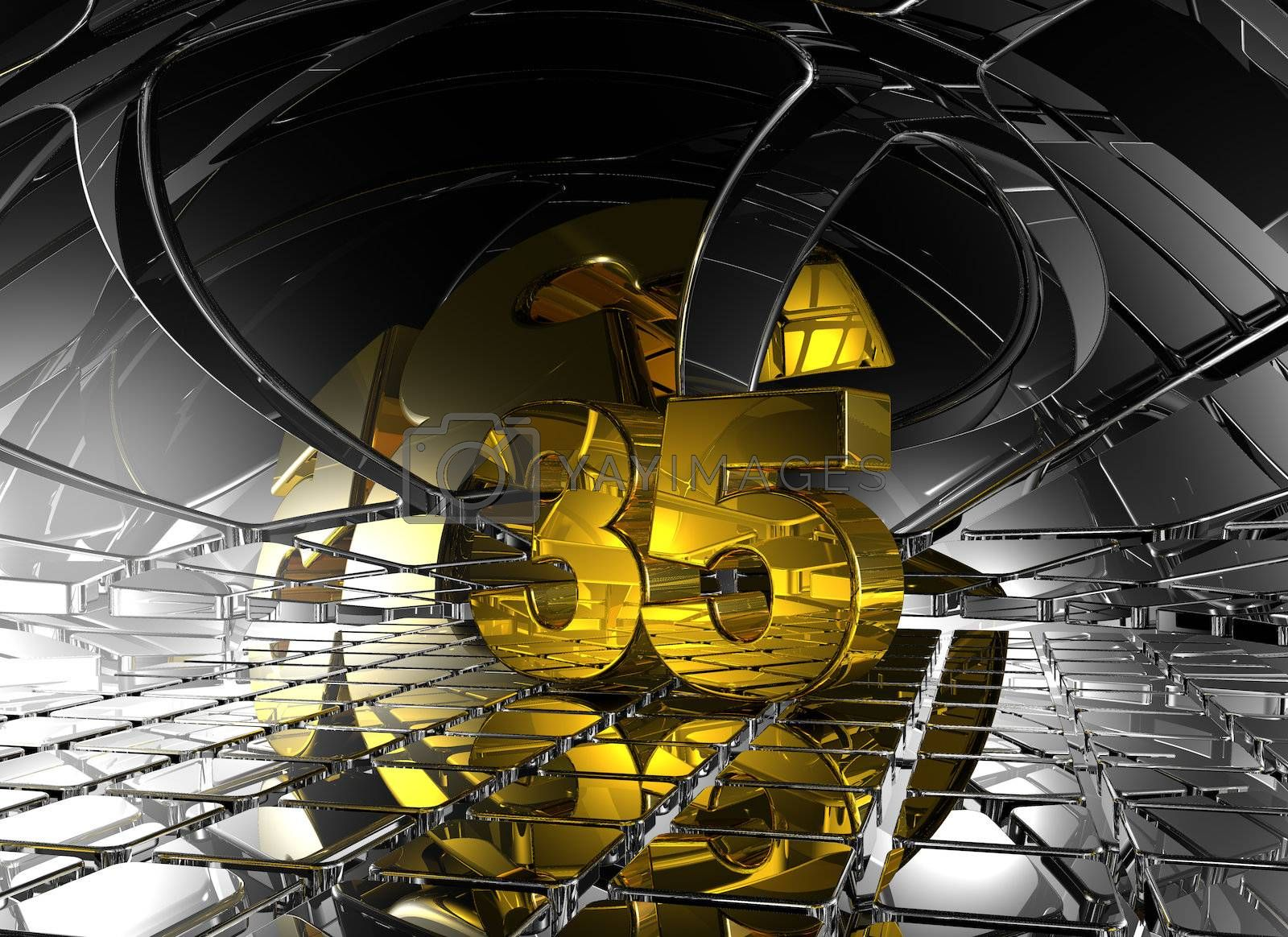 number thirty five in abstract futuristic space - 3d illustration