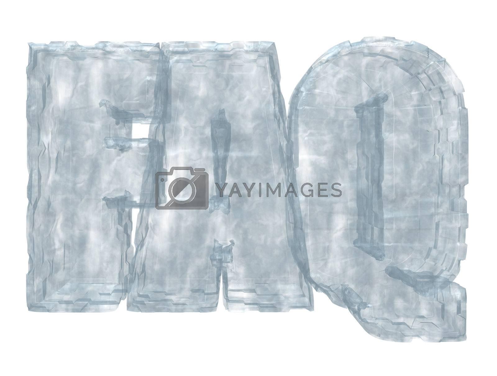 frozen faq tag on white background - 3d illustration