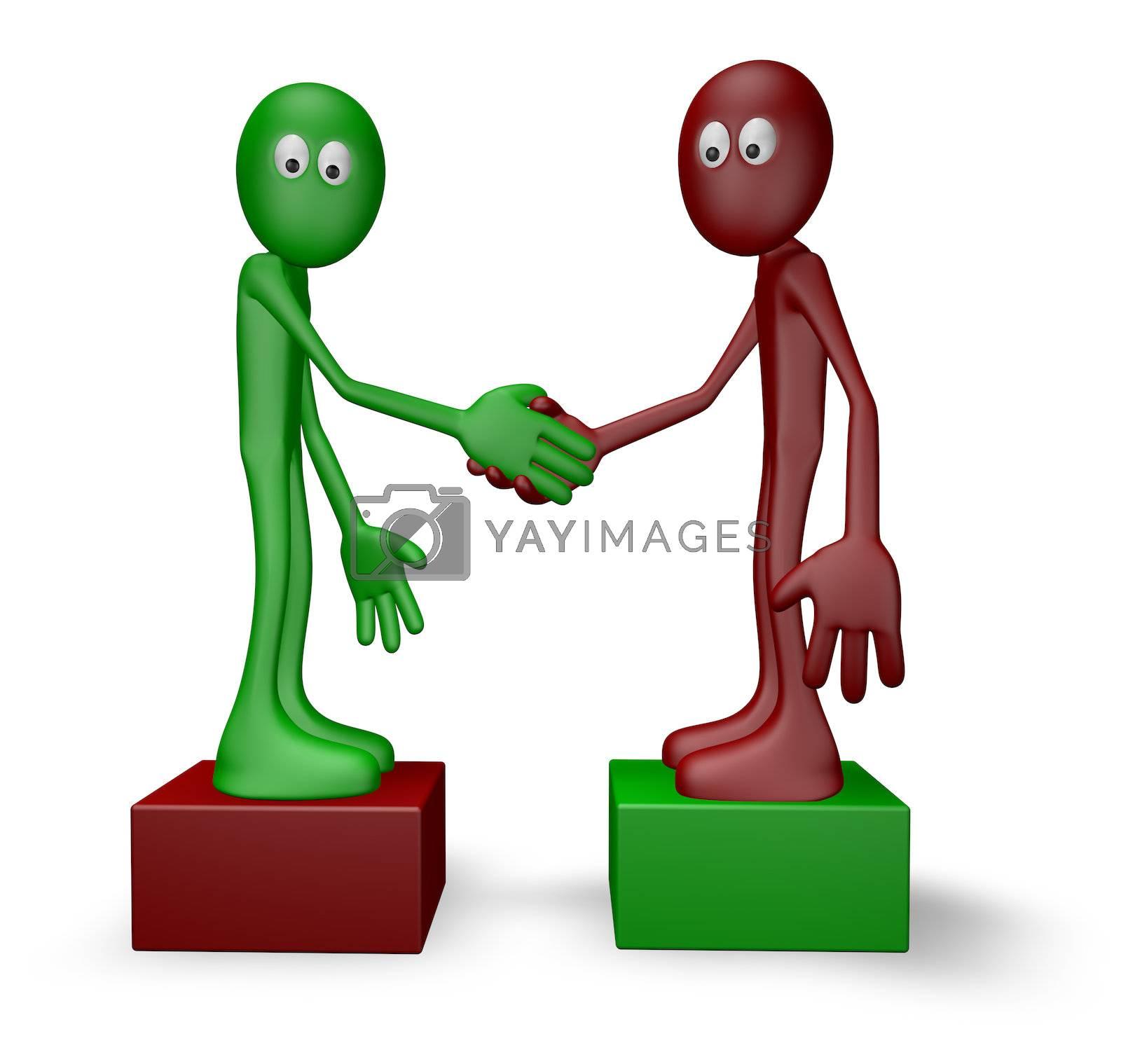 cartoon guys shake hands - 3d illustration
