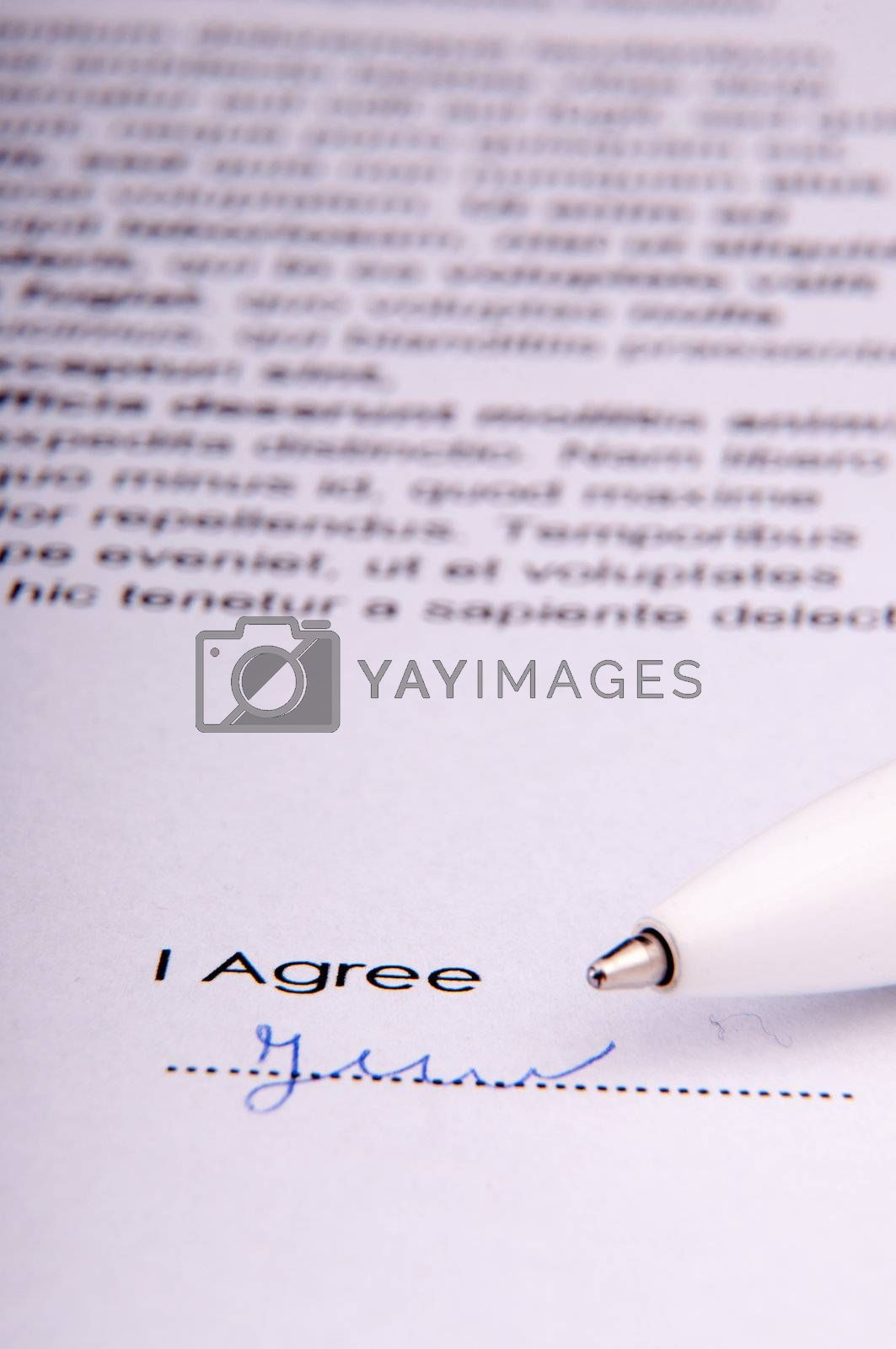 Signature over agreement by Brejeq