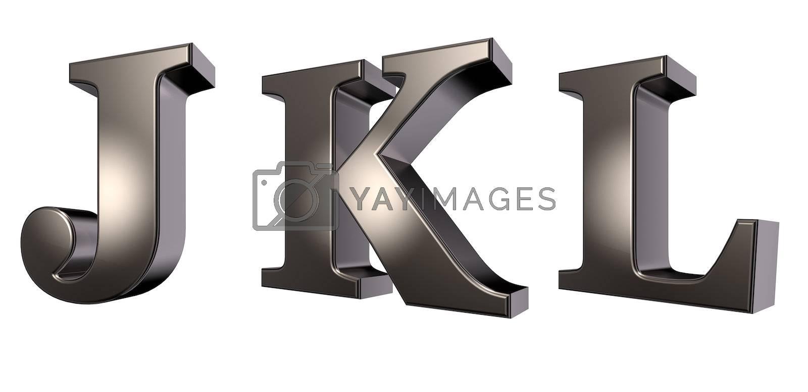 metal  letters j, k and l on white background - 3d illustration