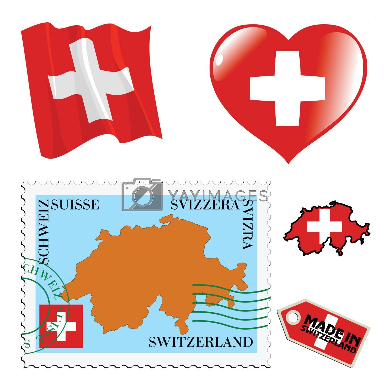 set of different symbols in national colours of Switzerland