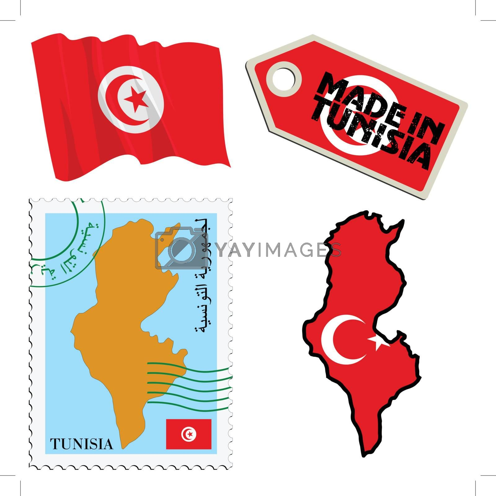 set of different symbols in national colours of Tunisia