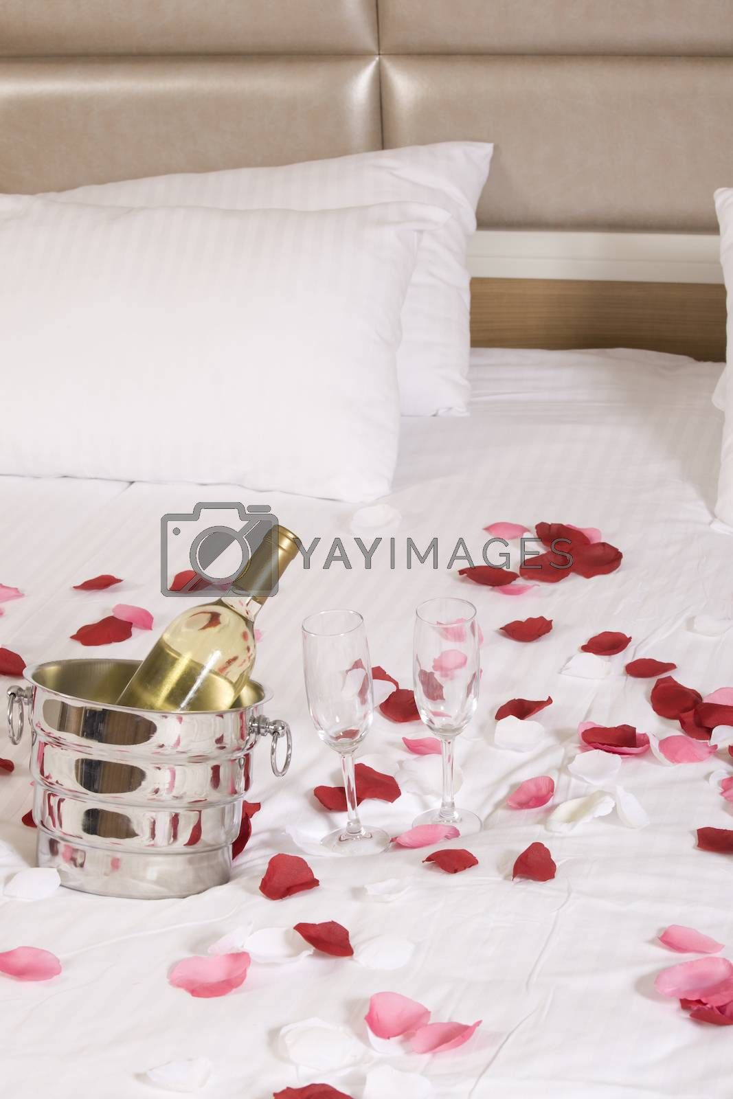 wine in bed to celebrate Valentine's Day at hotel room