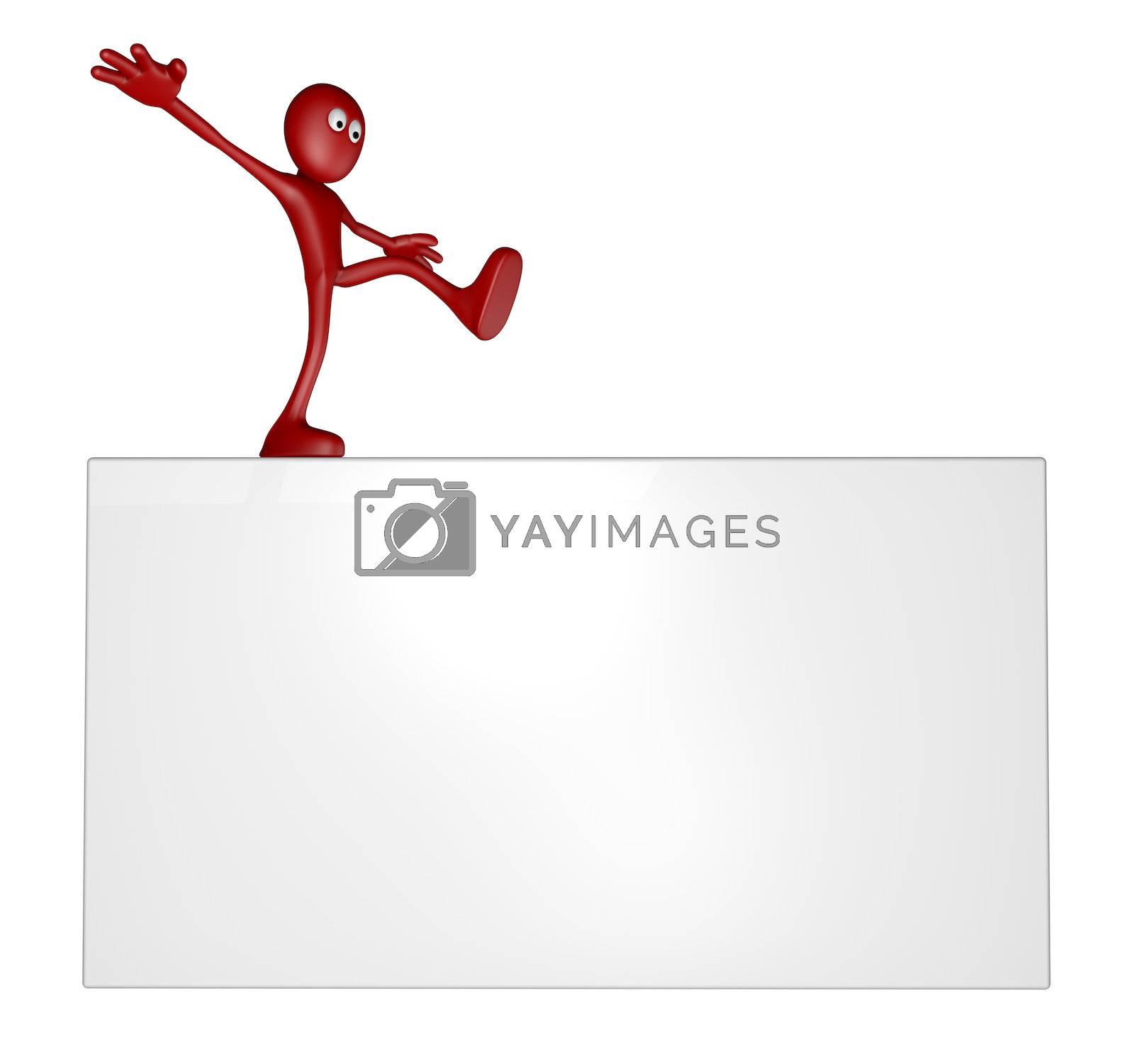 cartoon guy balances on white board - 3d illustration