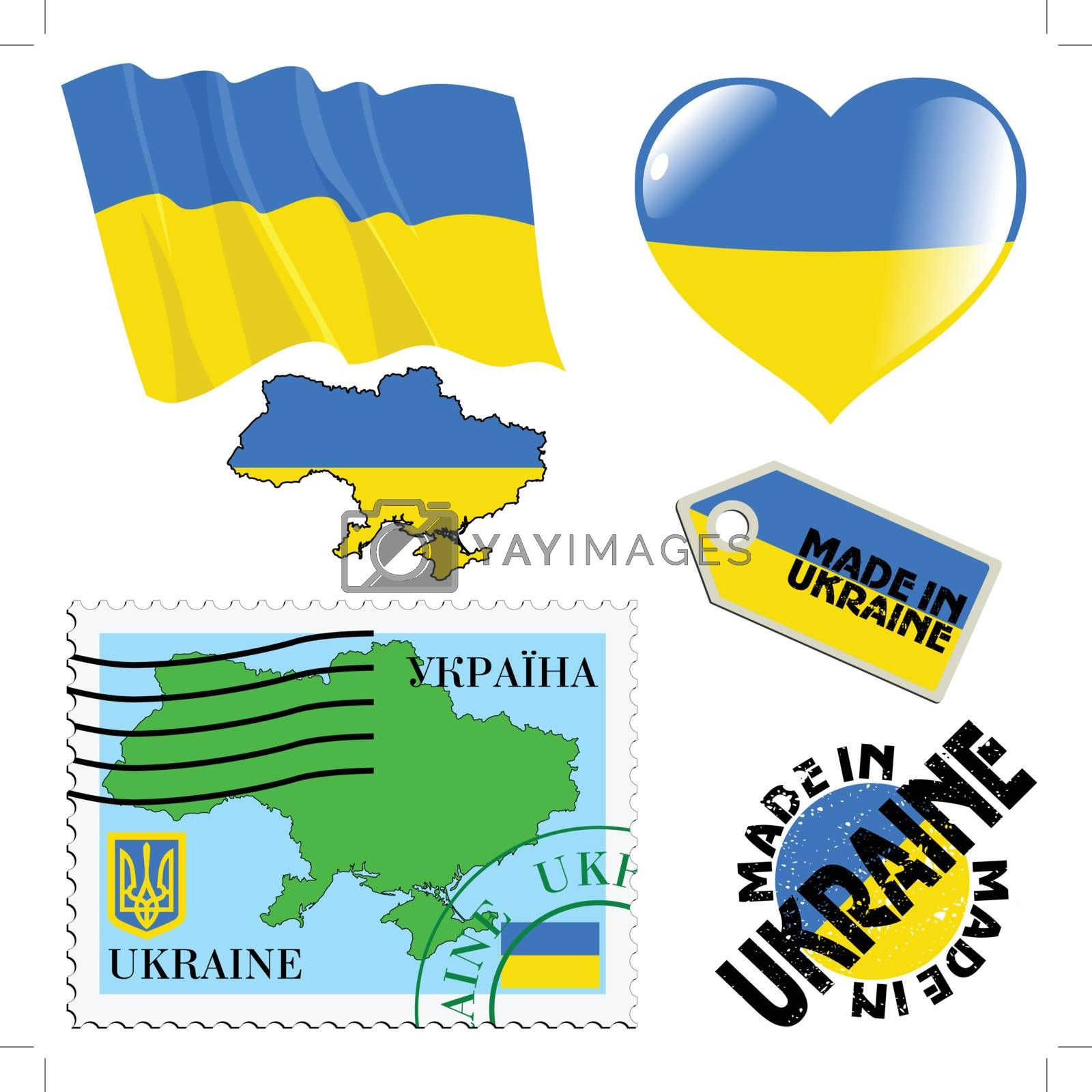set of different symbols in national colours of Ukraine