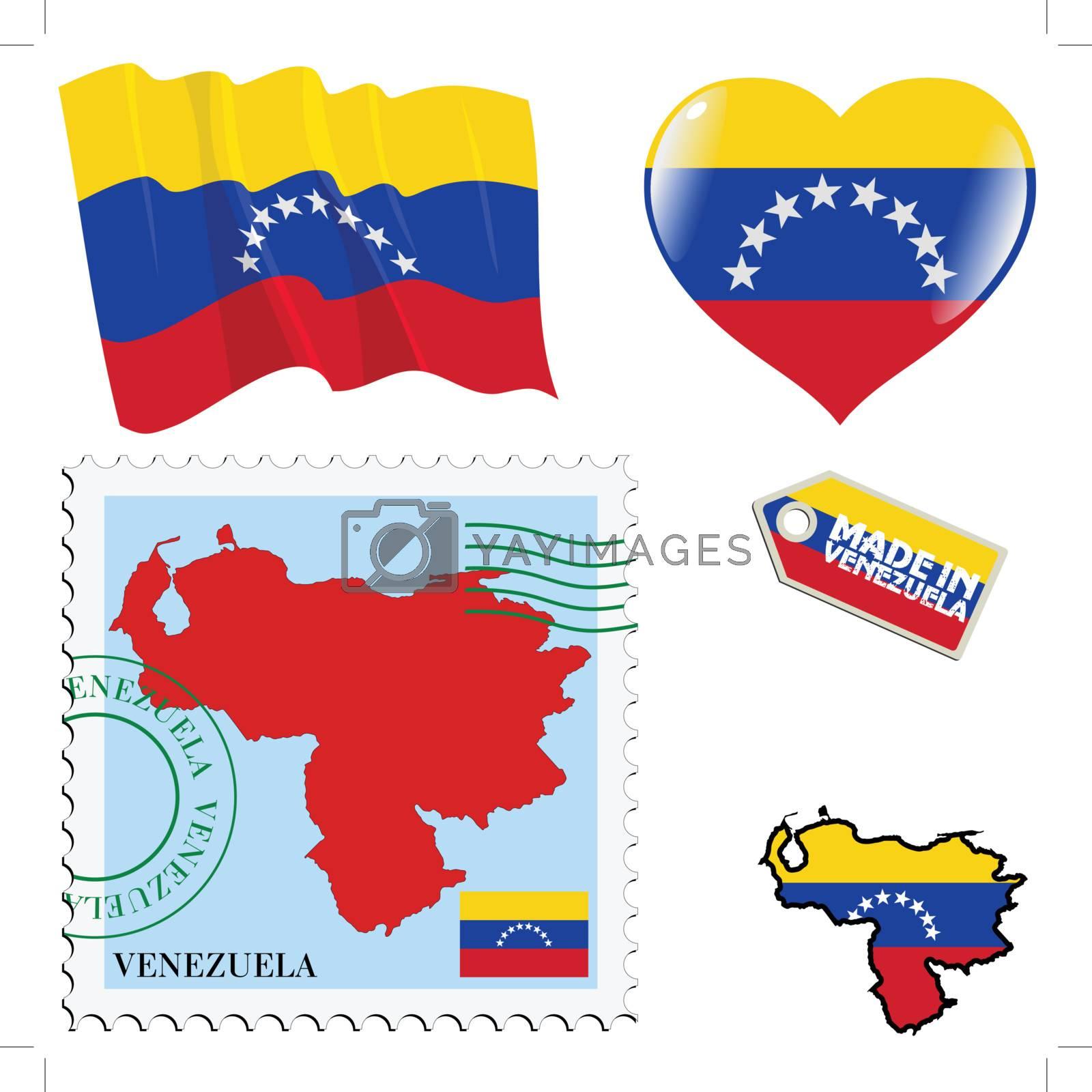 set of different symbols in national colours of Venezuela