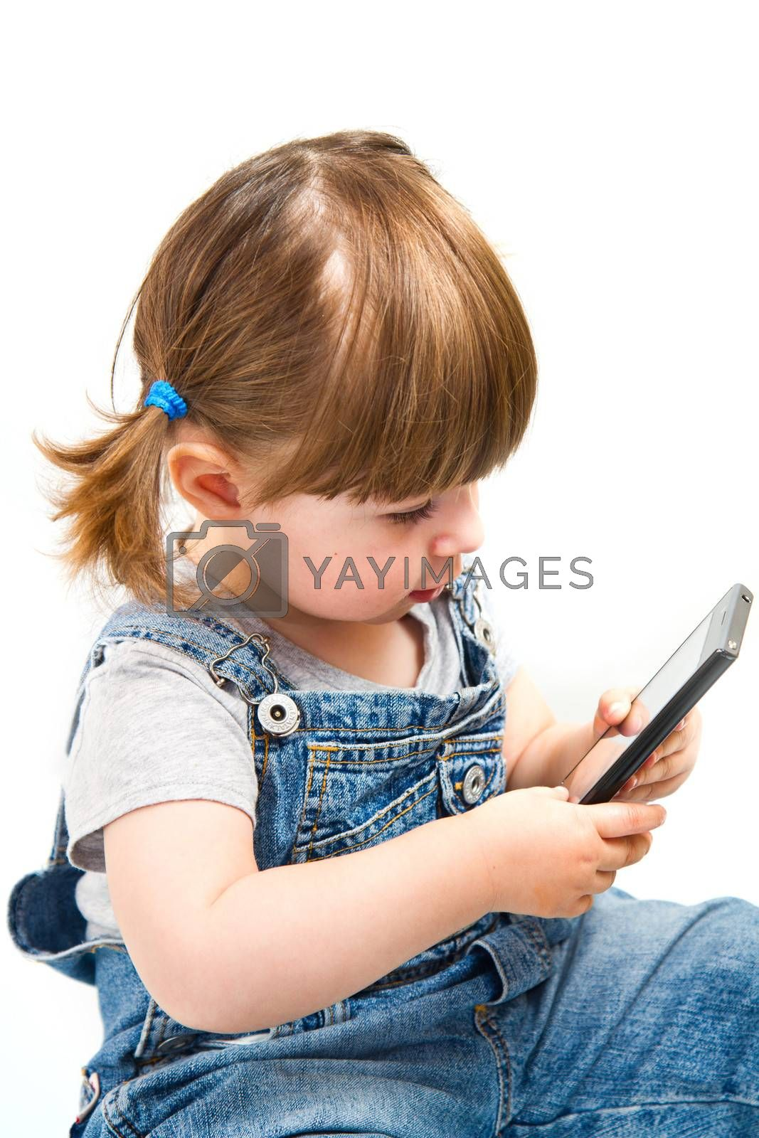 little girl play with mobile phone on white background