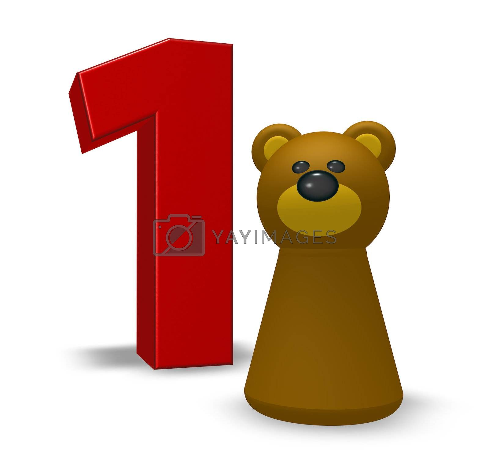 number one and brown bear - 3d illustration