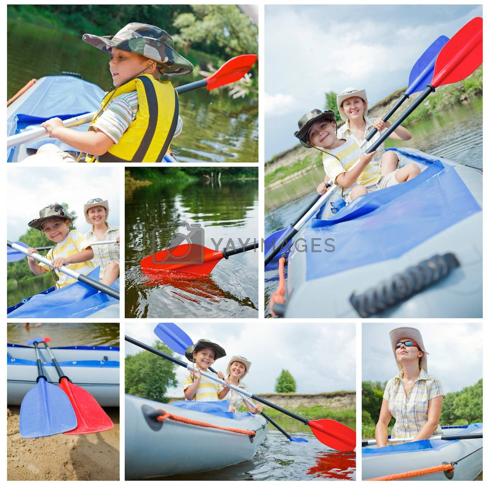Collage of images happy young boy with mother paddling a kayak on the river, enjoying a lovely summer day