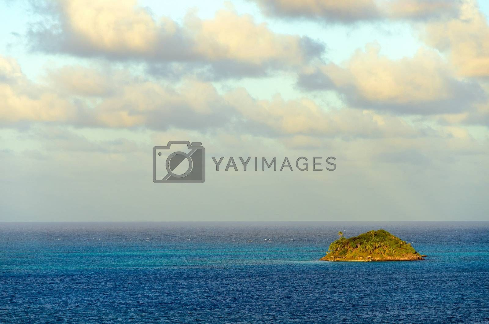 View of Crab Caye, a small island in the Caribbean Sea