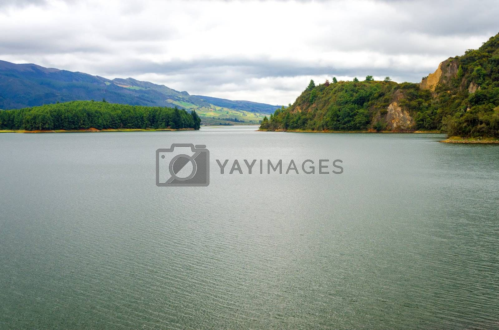 Lake in a beautiful natural setting in Neusa, Colombia