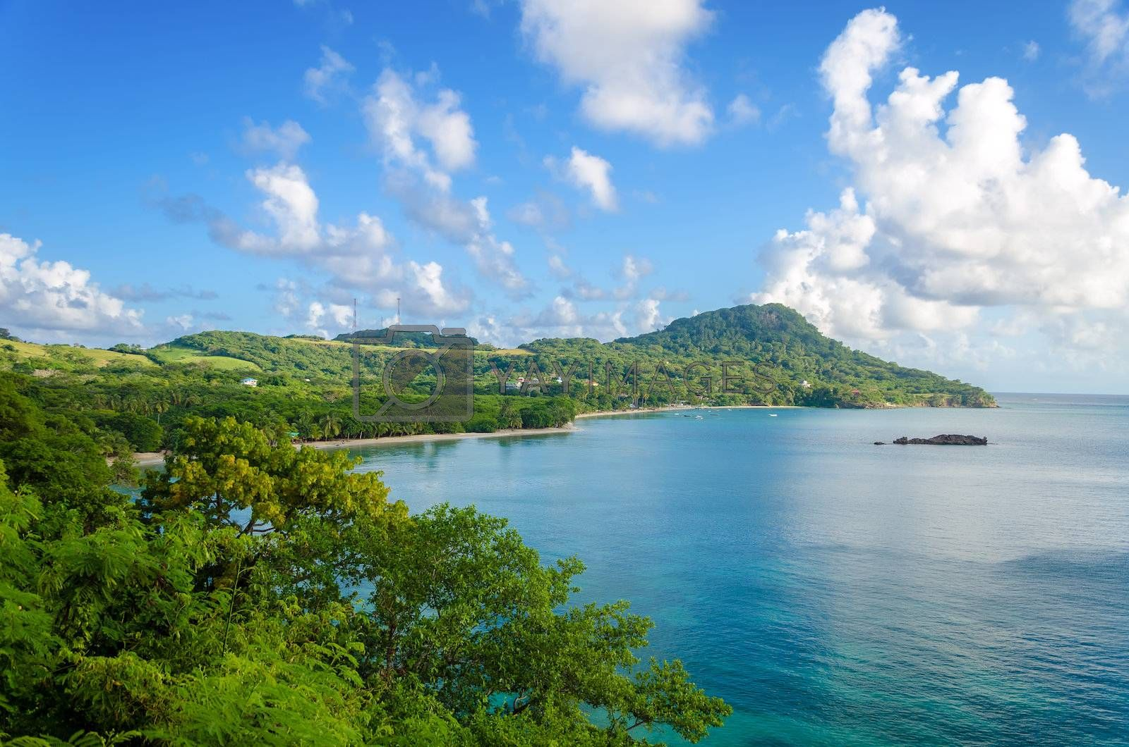 Wide view of Caribbean island of San Andres y Providencia, Colombia