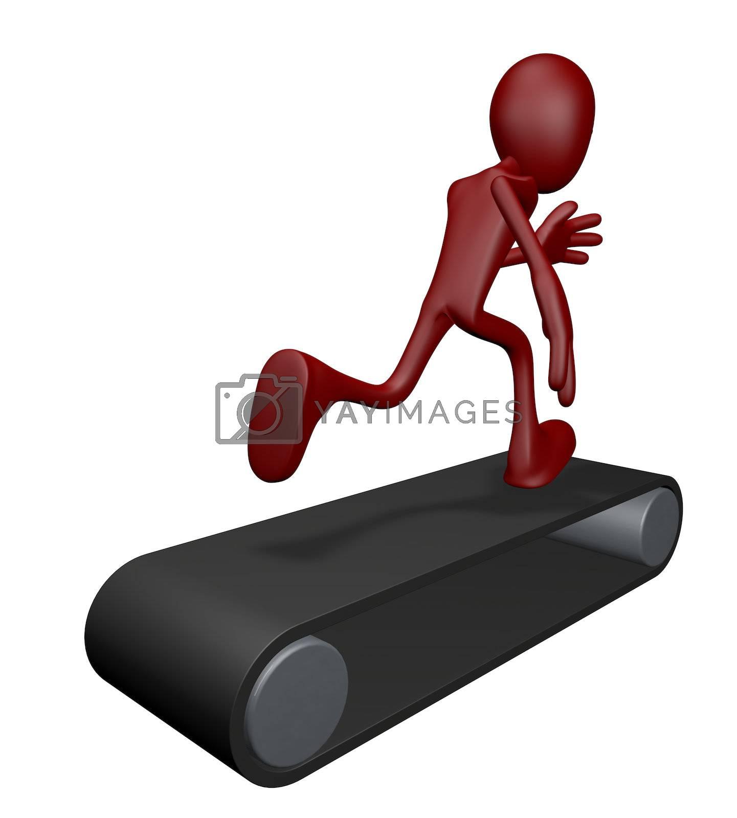 cartoon guy on tread mill - 3d illustration