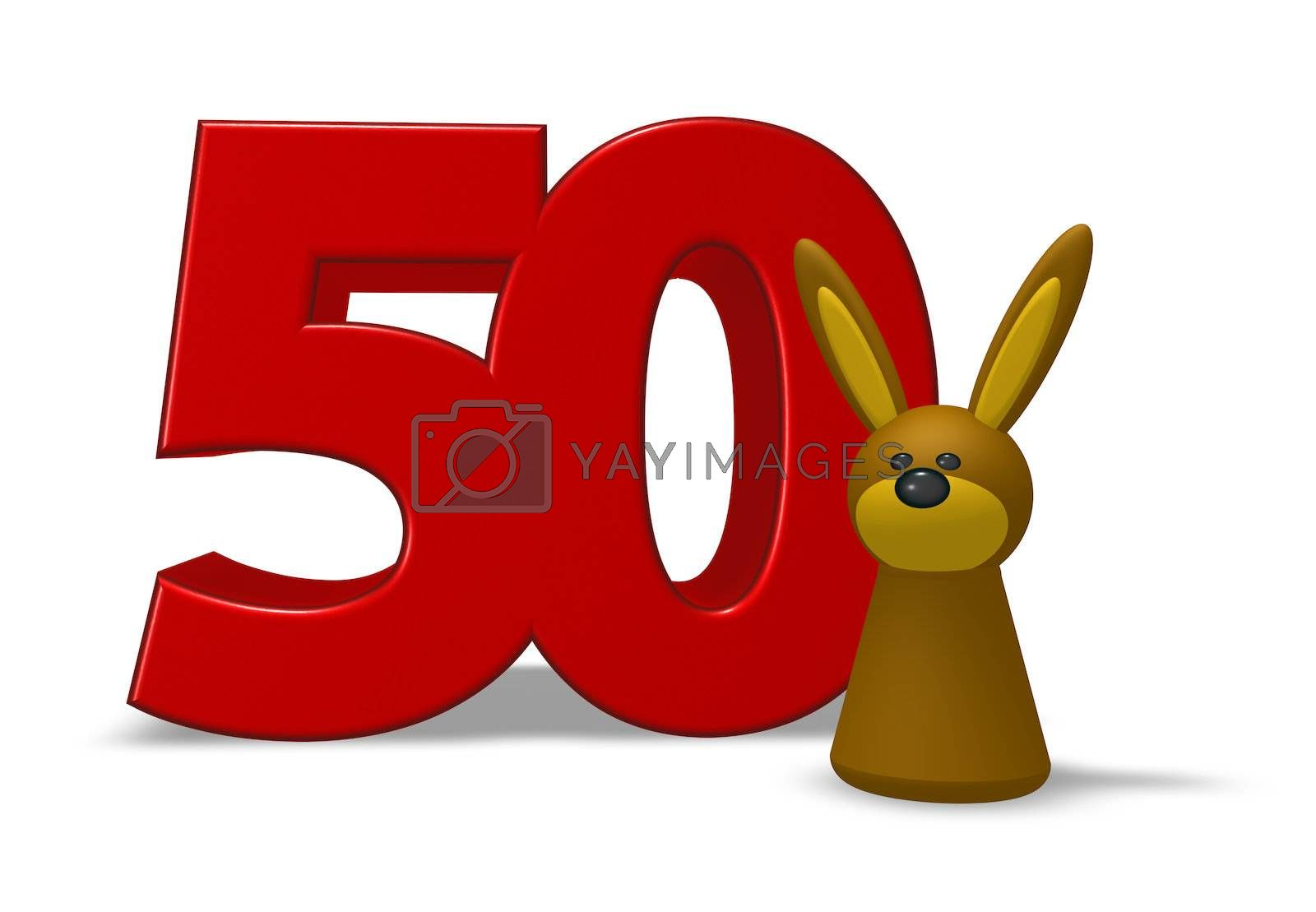 number fifty and rabbit - 3d illustration
