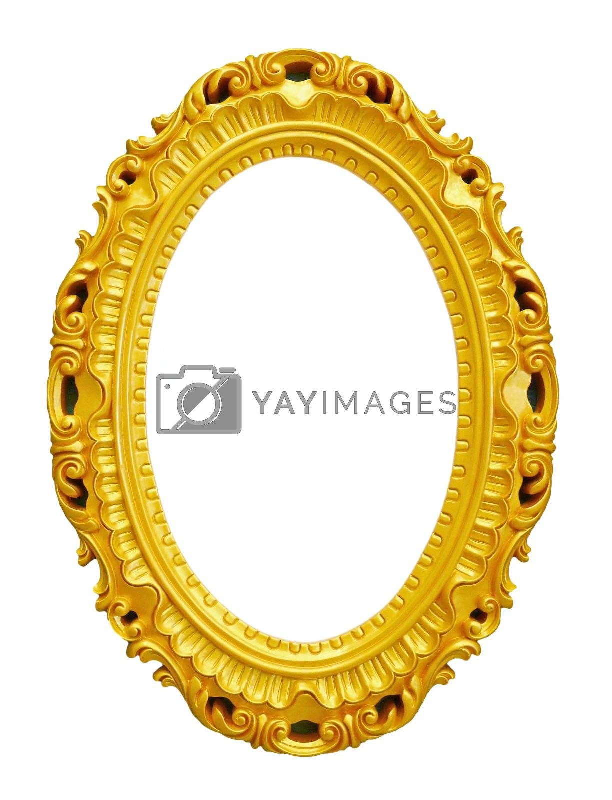 Golden vintage frame isolated on white background