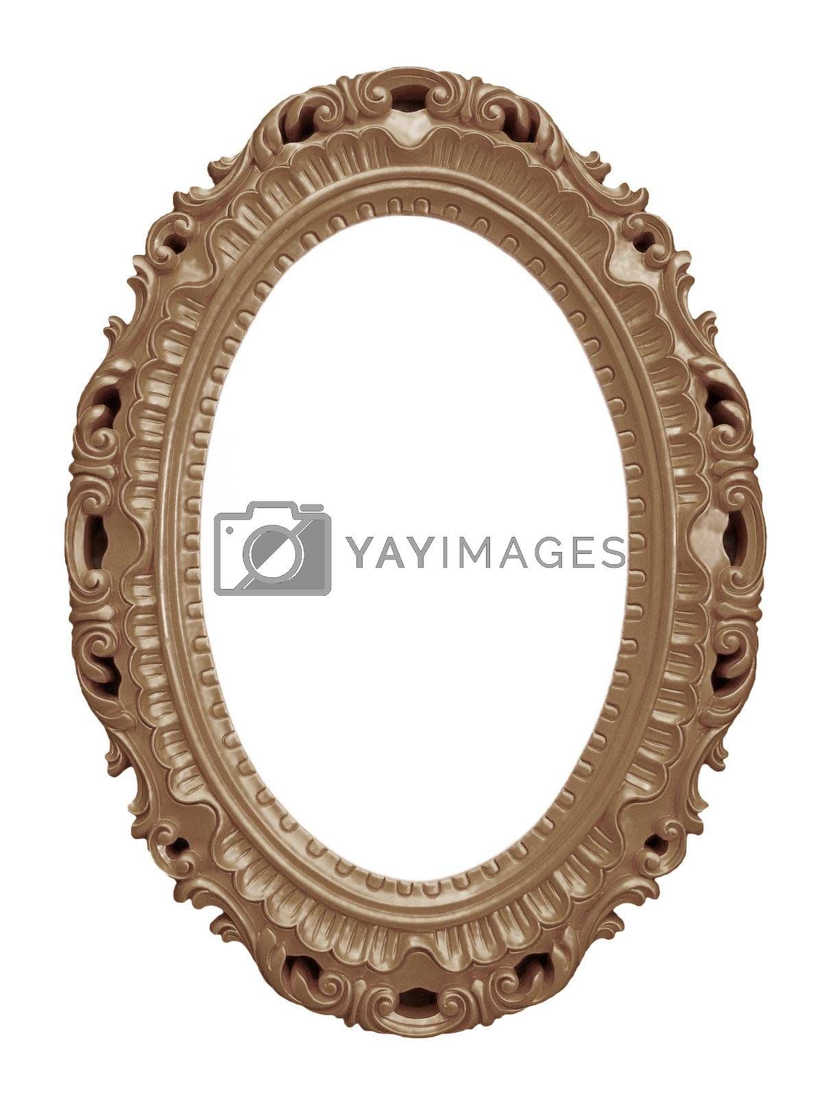 Brown vintage frame isolated on white background