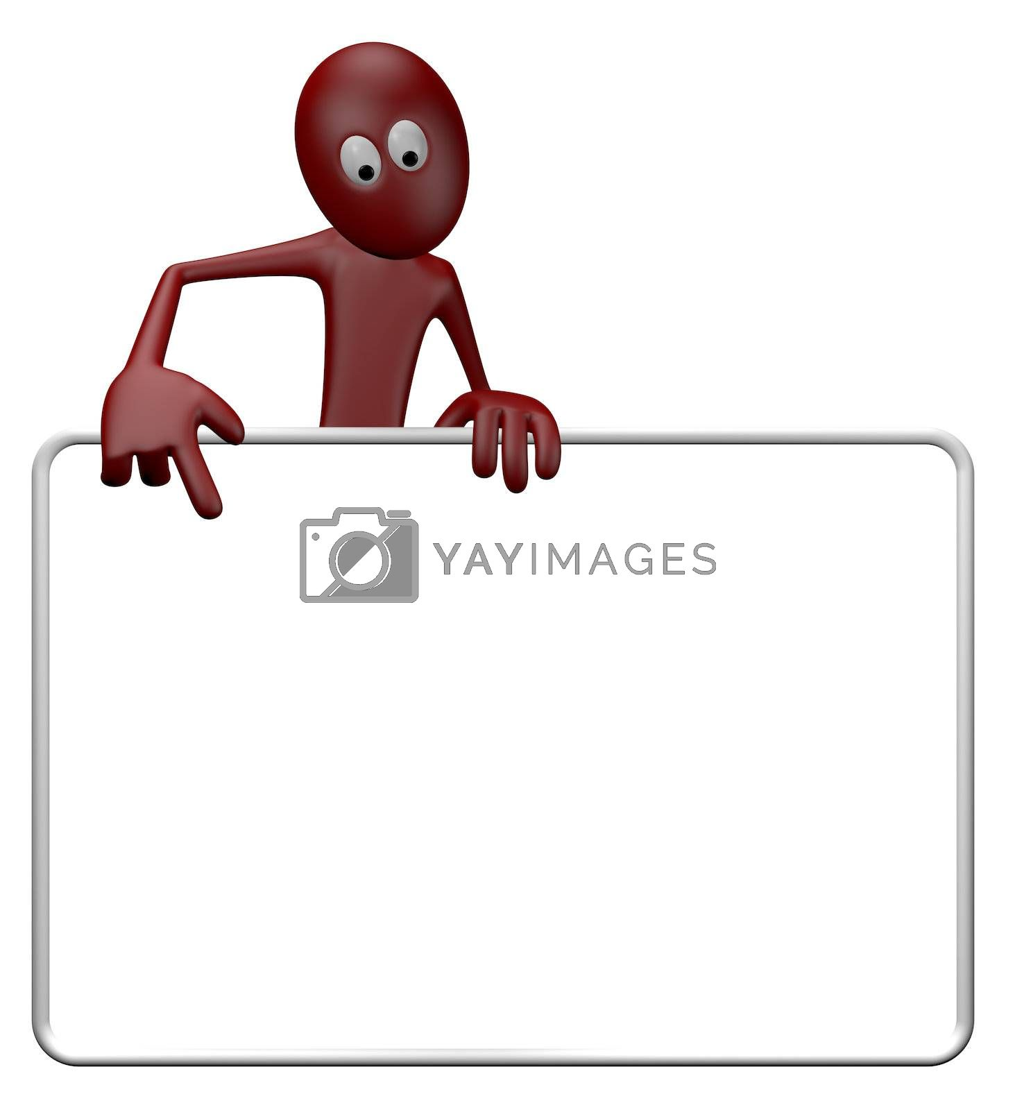 cartoon guy and blank white sign - 3d illustration