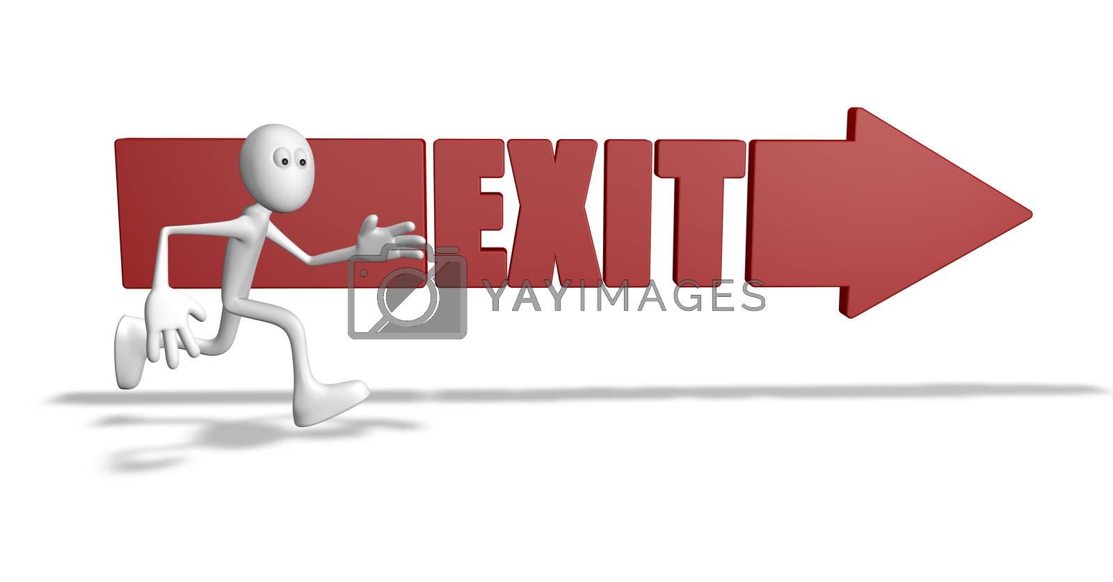 exit arrow and running cartoon guy - 3d illustration