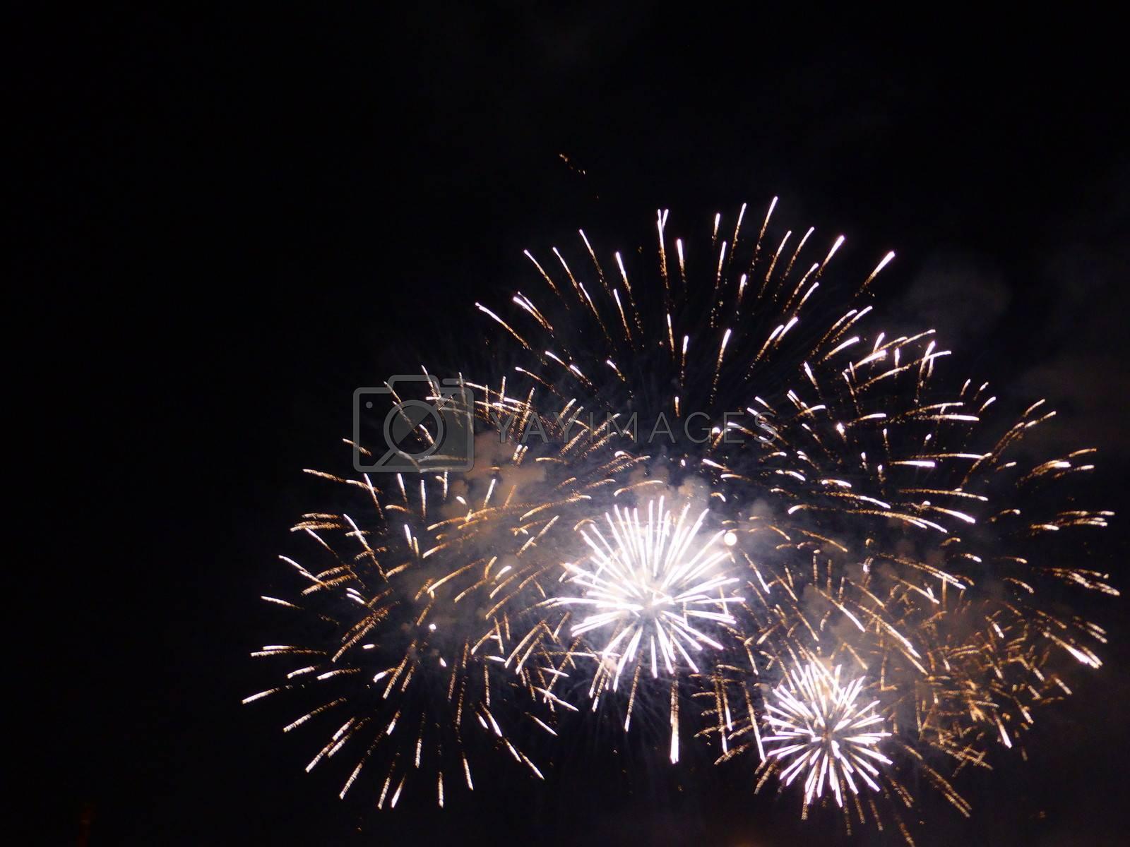 Festa del Redentore in Venice  red, orange and yellow dazzling fireworks