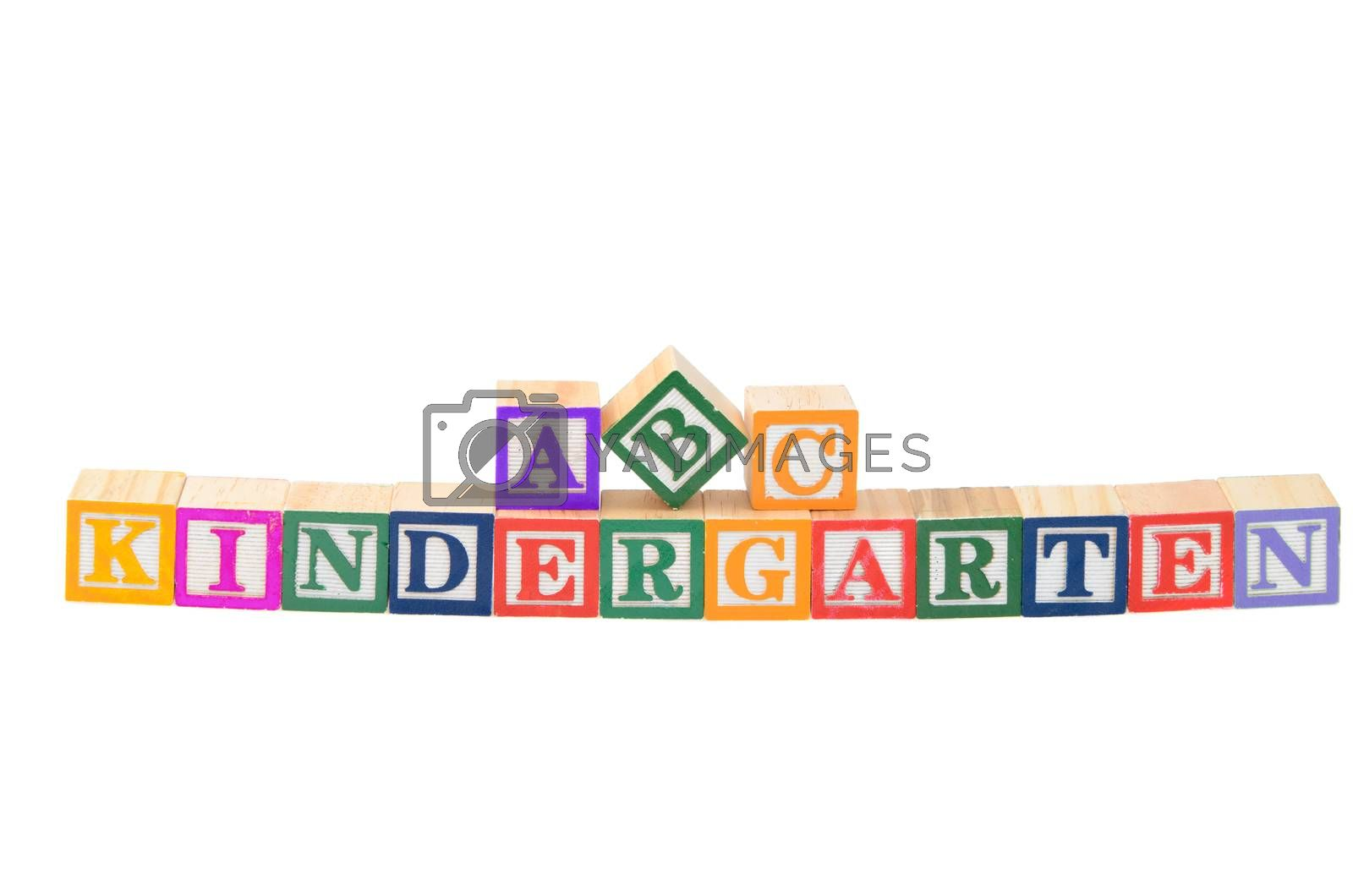 Baby blocks spelling kindergarten. Isolated on a white background.