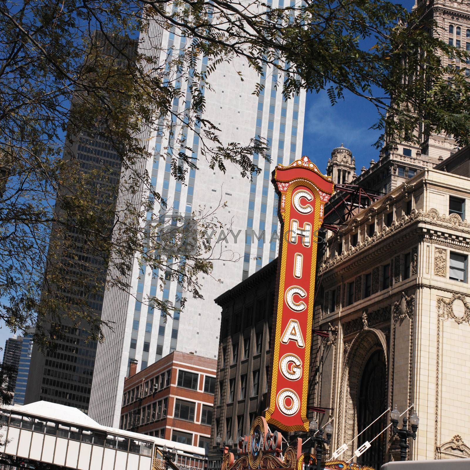 Theater sign in downtown Chicago in the state of Illinois in the United States of America.