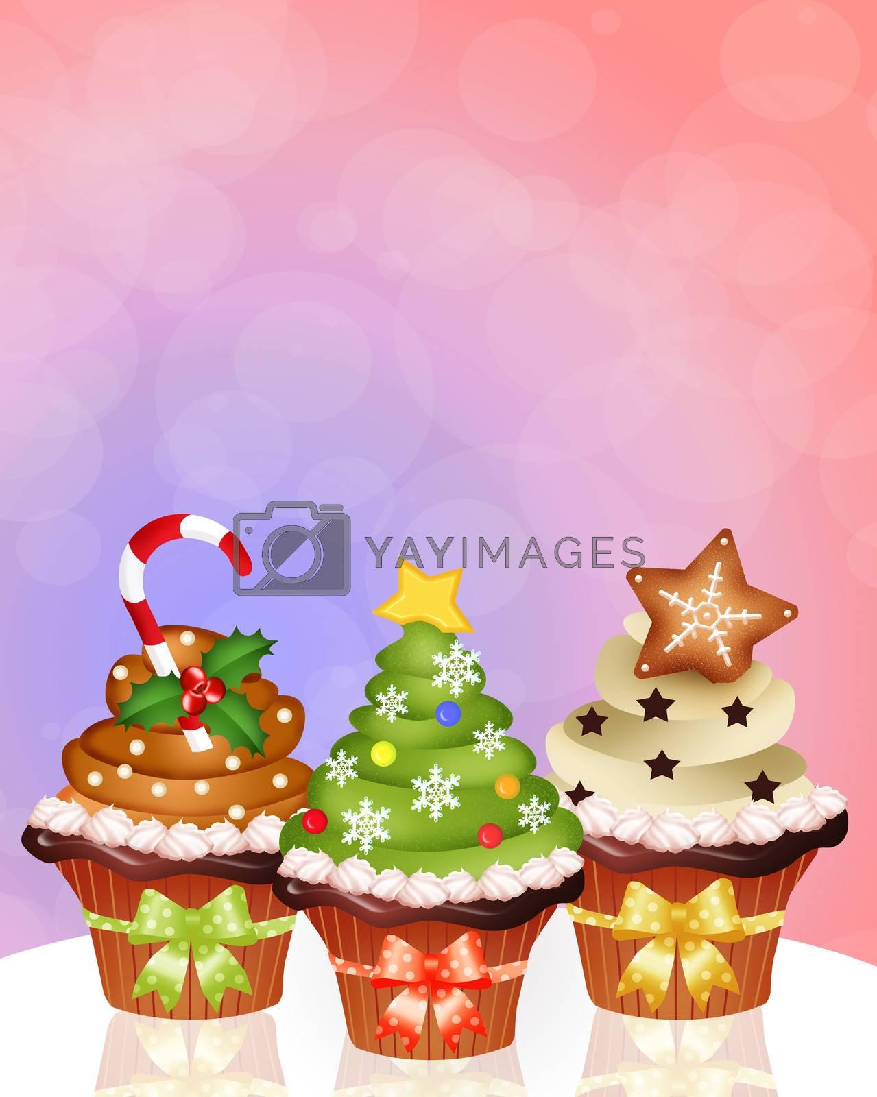 illustration of Christmas cupcake