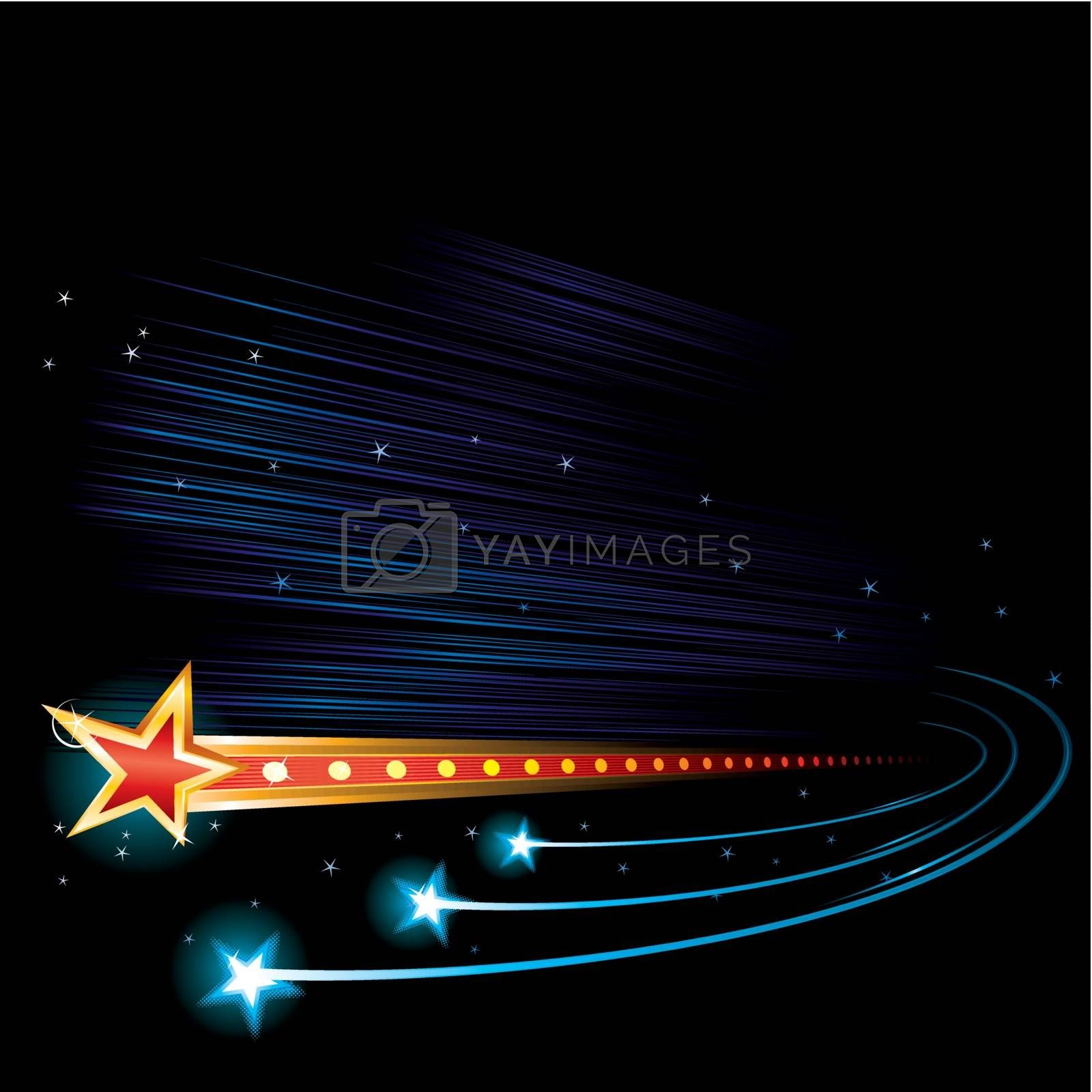 Dark sky background with coming stars