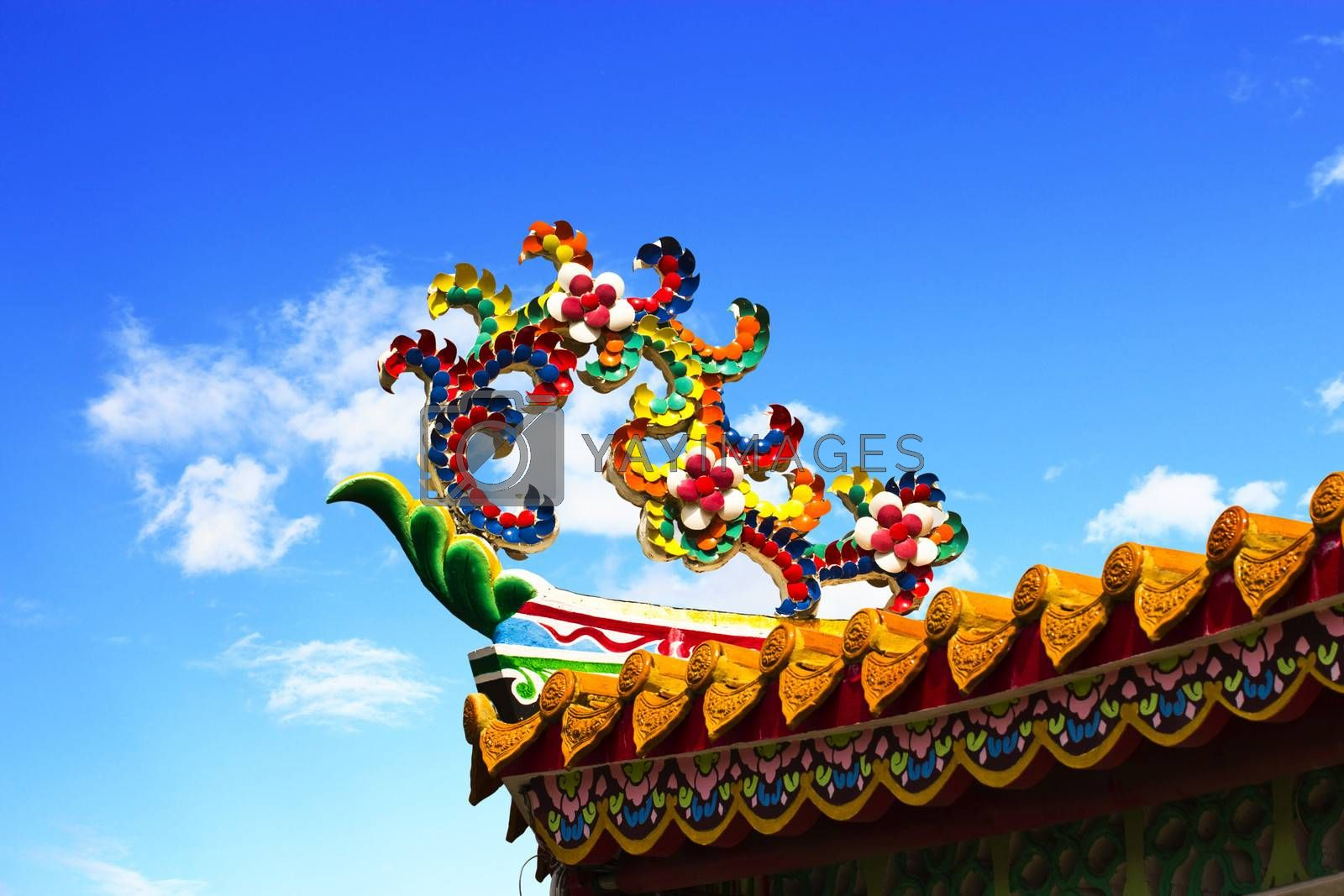 The design of the overlapping flowers and decorated on the roof of chinese temple