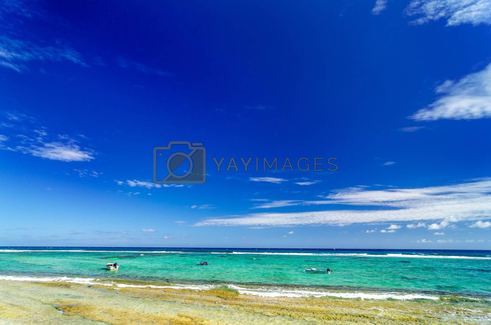 View of boats on the Caribbean Sea on the island of San Andres y Providencia, Colombia