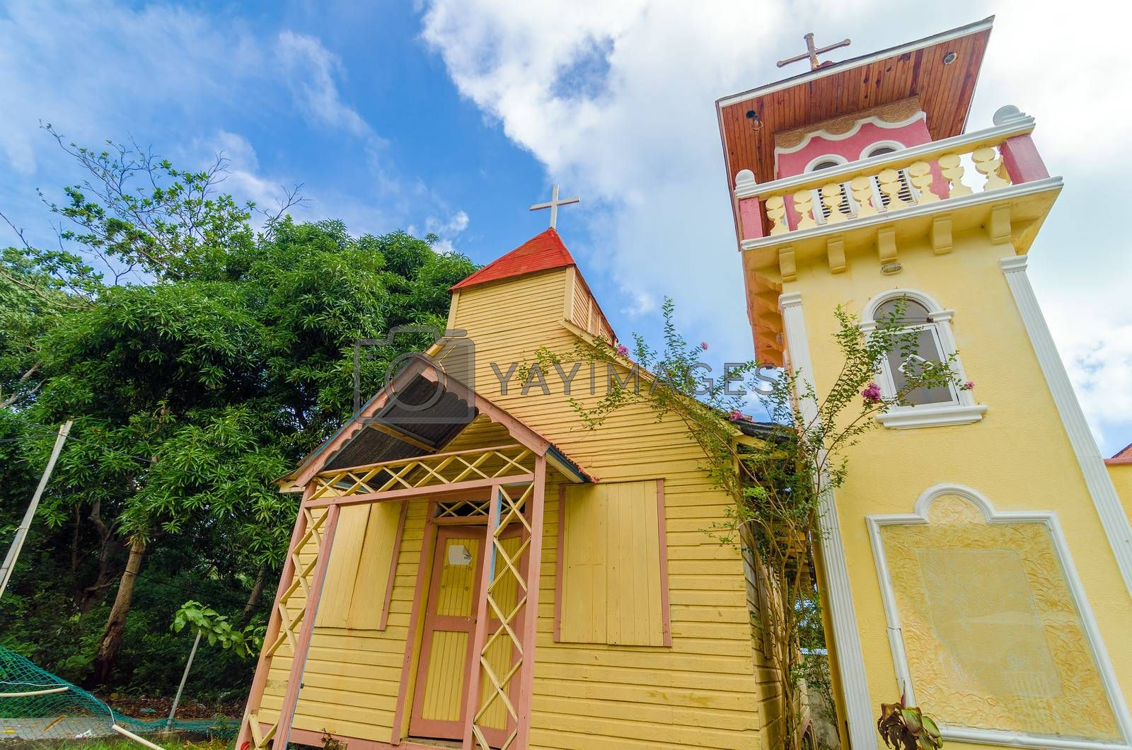 Yellow and pink church on the Caribbean island of San Andres y Providencia, Colombia