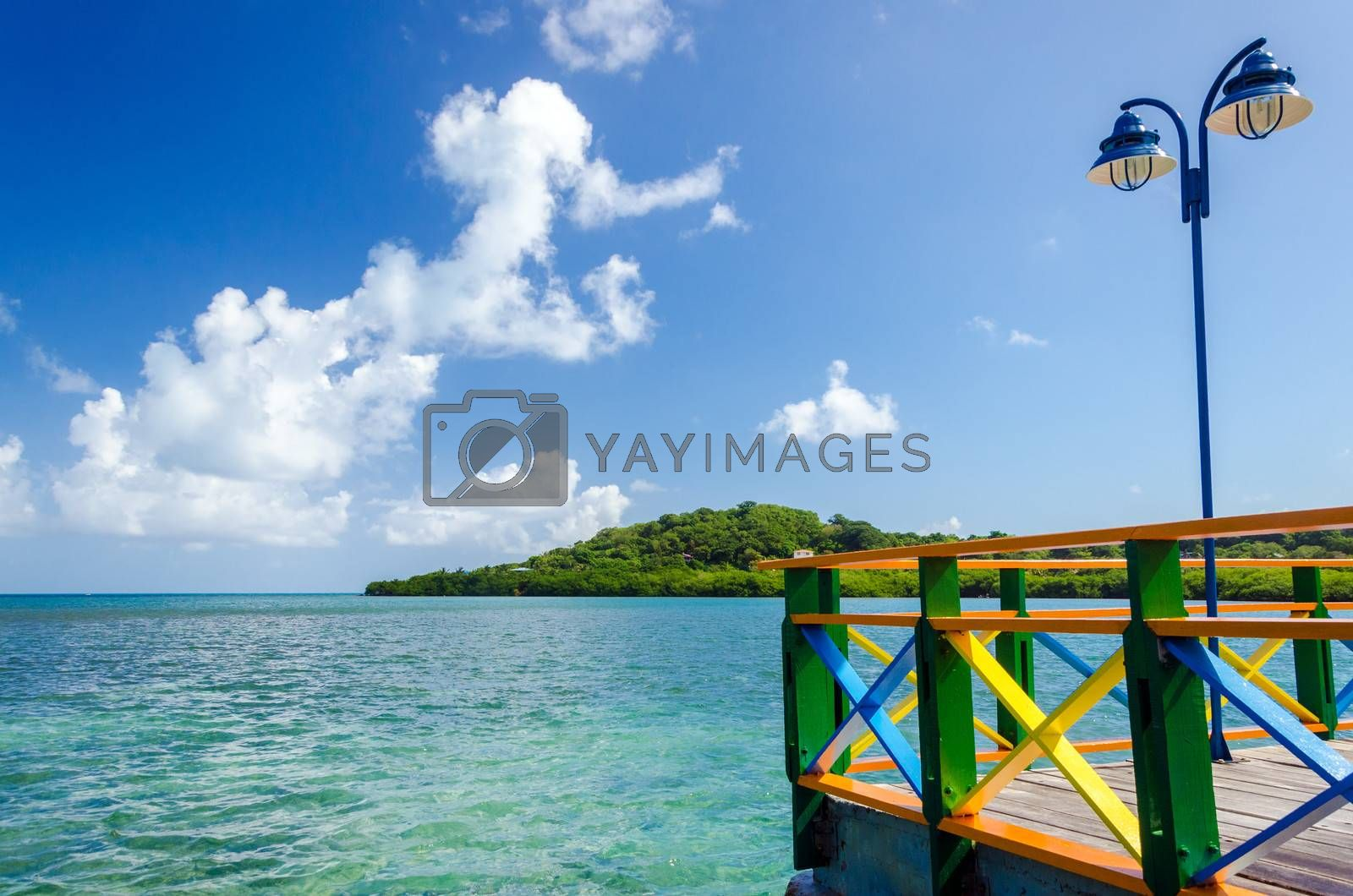 View of Caribbean Sea on a colorful bridge on San Andres y Providencia, Colombia
