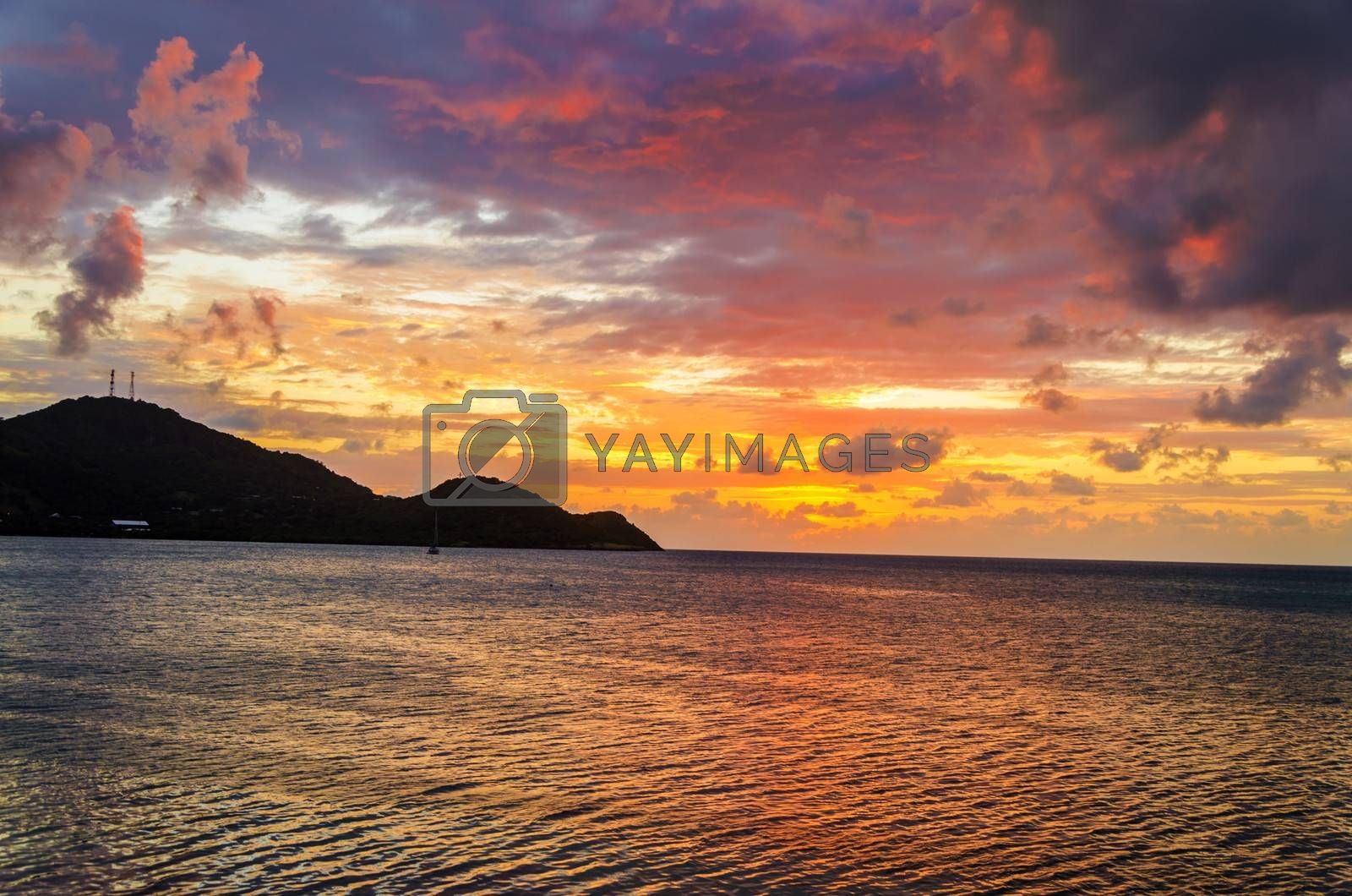 Stunning sunset of the Caribbean Sea on San Andres y Providencia, Colombia