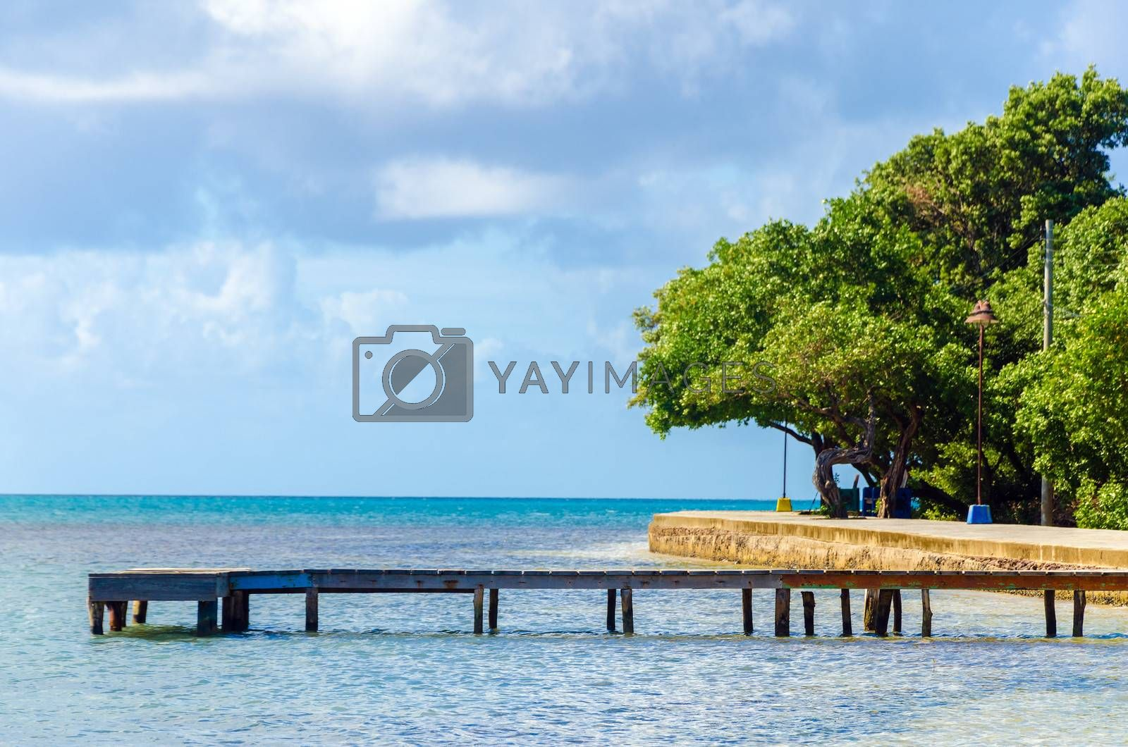Old wooden pier in the Caribbean Sea on San Andres y Providencia, Colombia